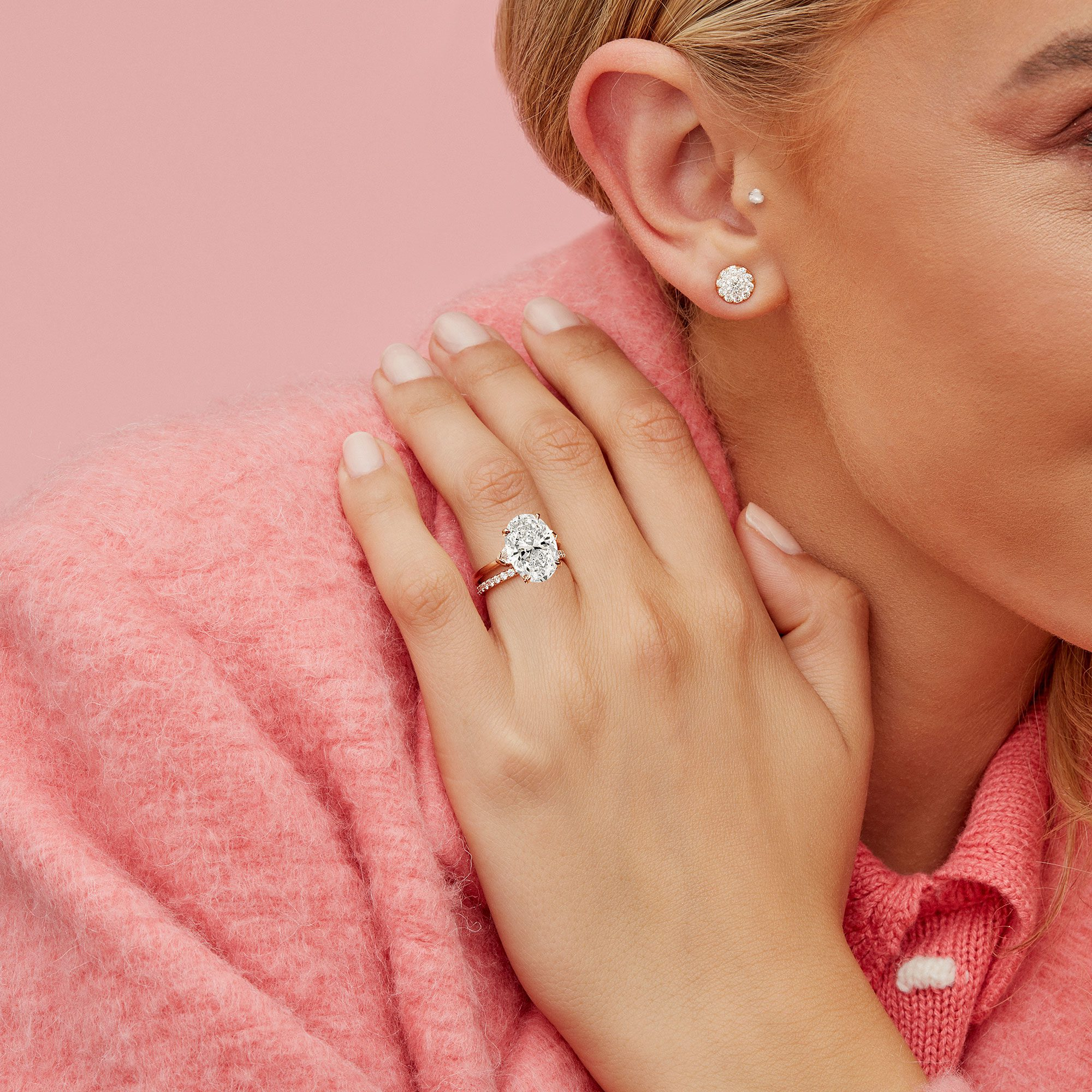 Claire Three Stone Oval Cut Lab Grown Diamond Engagement Ring on Hand from Oui