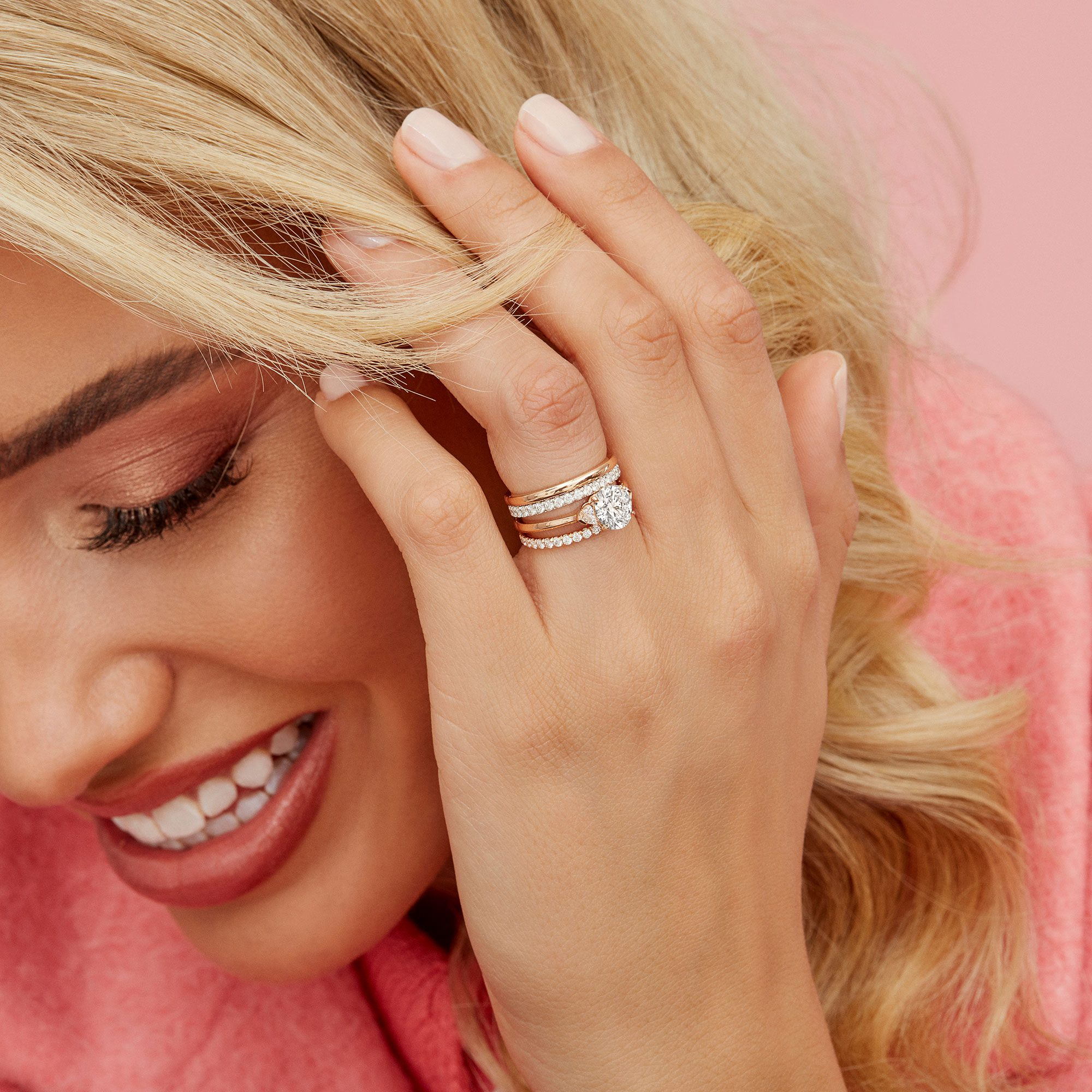 Claire Three Stone Lab Grown Round Diamond Rose Gold Engagement Ring on Hand from Oui