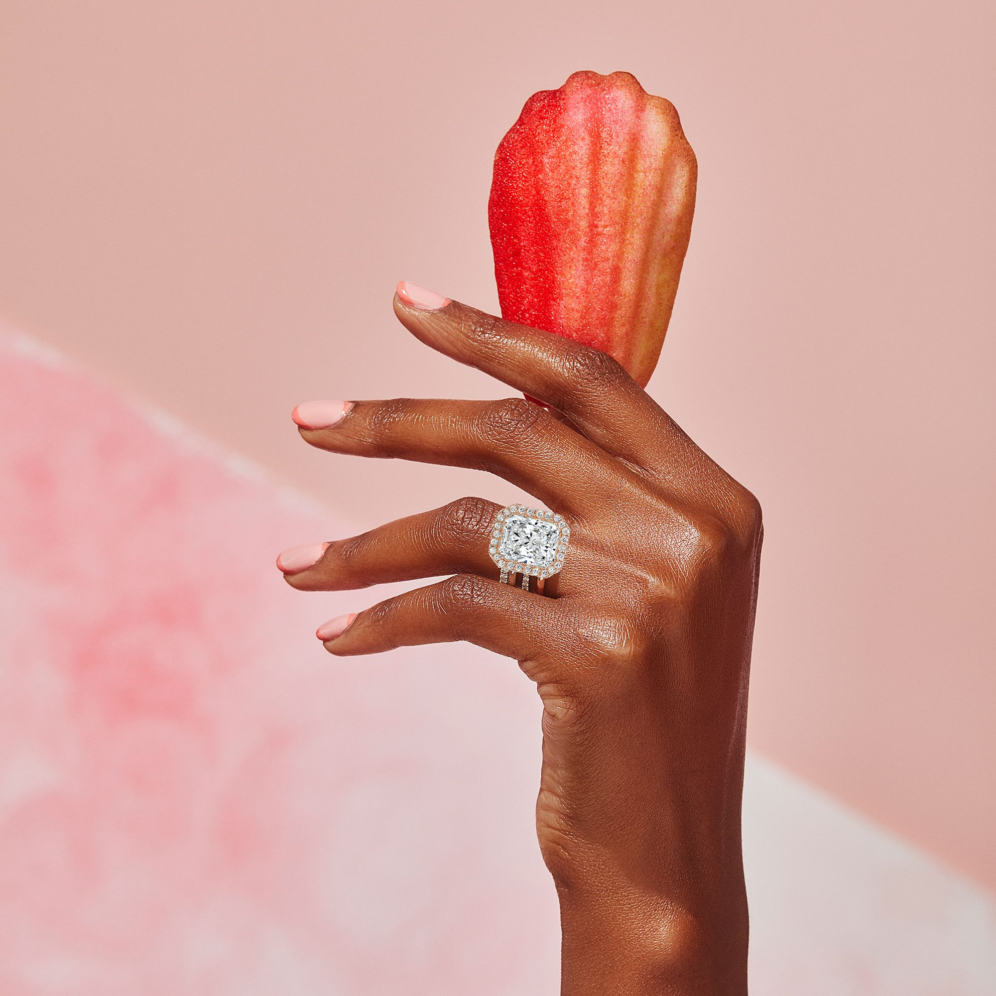 Eloise Lab Grown Radiant Diamond Ring on Hand Model by Oui