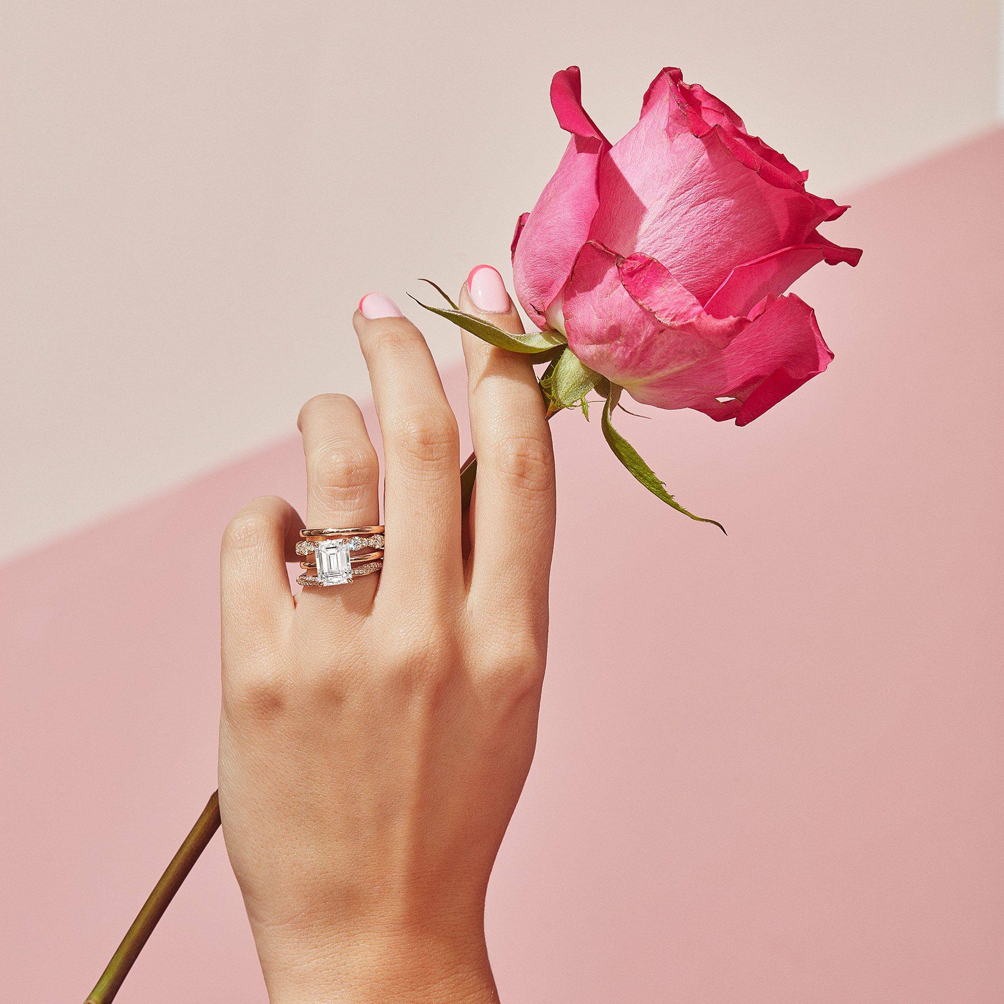 Colette Emerald Lab Grown Diamond Ring on Hand Model
