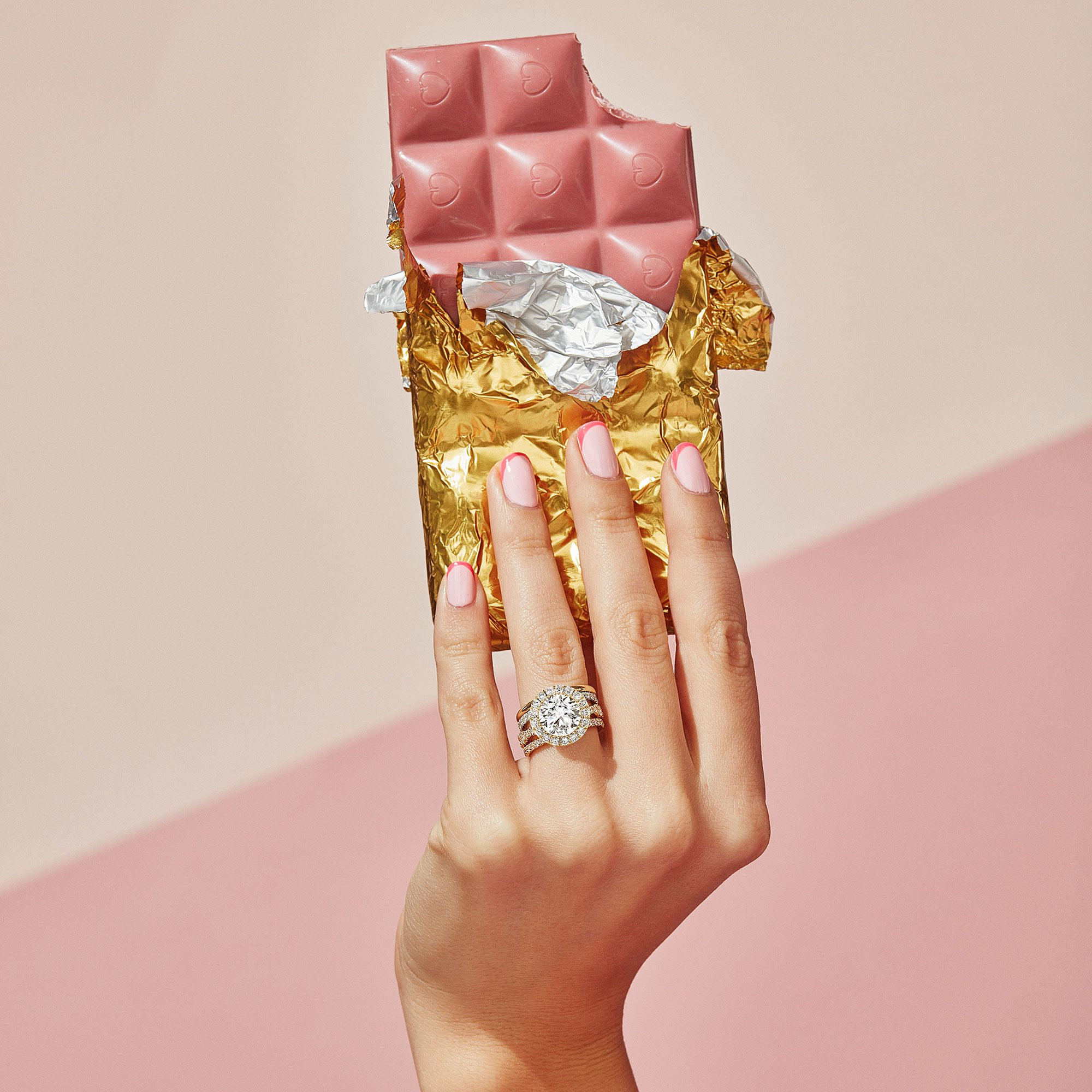 Yvonne Yellow Gold Halo Lab Diamond Ring on Hand Model by Oui