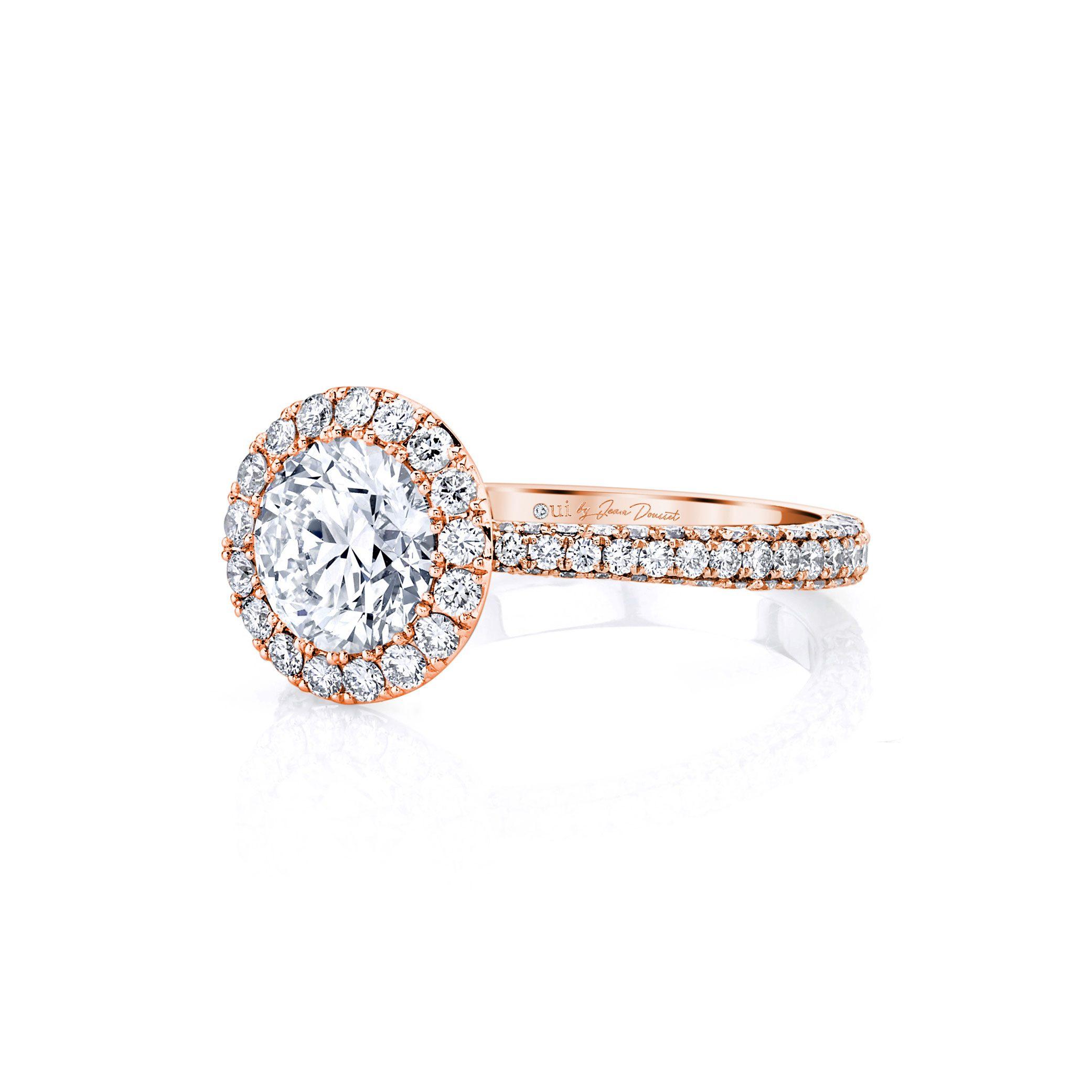 Jacqueline Seamless Halo® Round Brilliant Engagement Ring 18k Rose Gold Side Shot