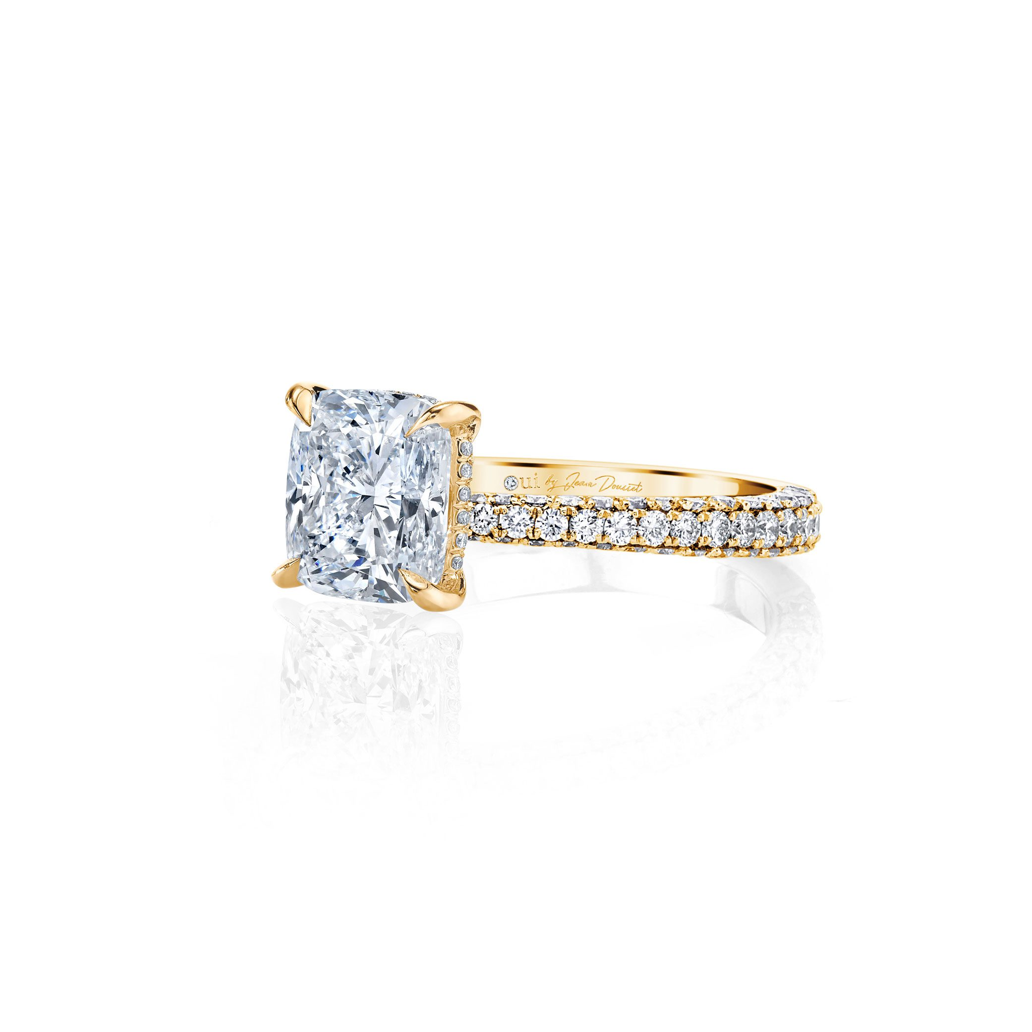 Jacqueline Cushion Cut Lab Grown Diamond Solitaire Engagement Ring Pavé Yellow Gold Band from Oui