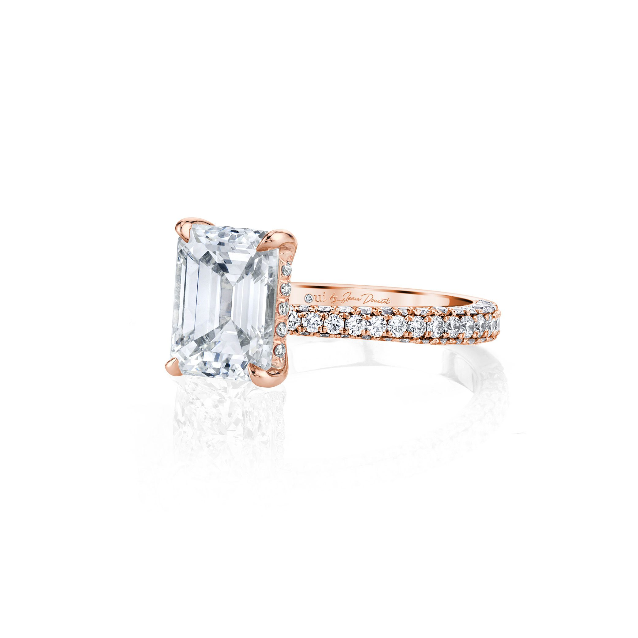 Jacqueline Emerald Cut Lab Grown Diamond Solitaire Engagement Ring Pavé Rose Gold Band from Oui