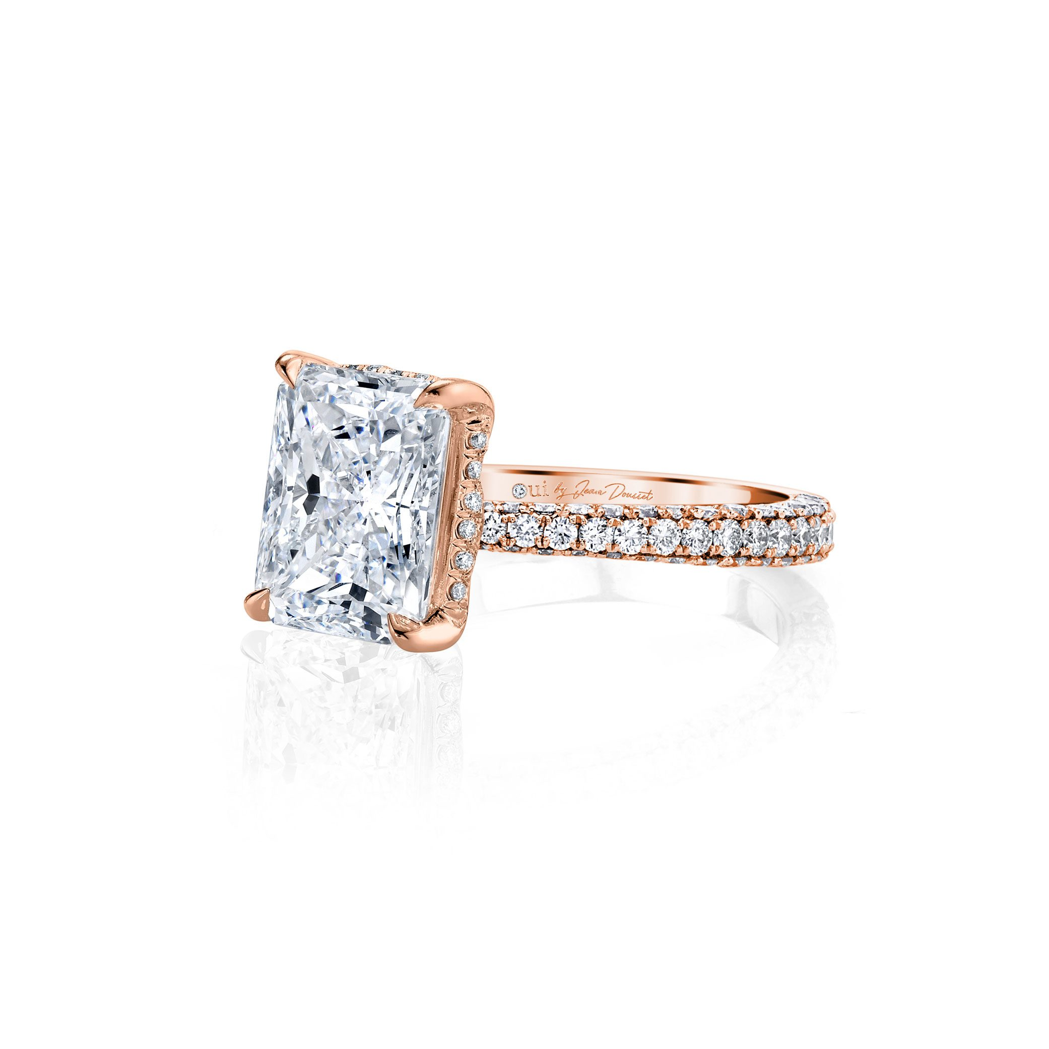 Jacqueline Radiant Cut Lab Grown Diamond Solitaire Engagement Ring Pavé Rose Gold Band from Oui
