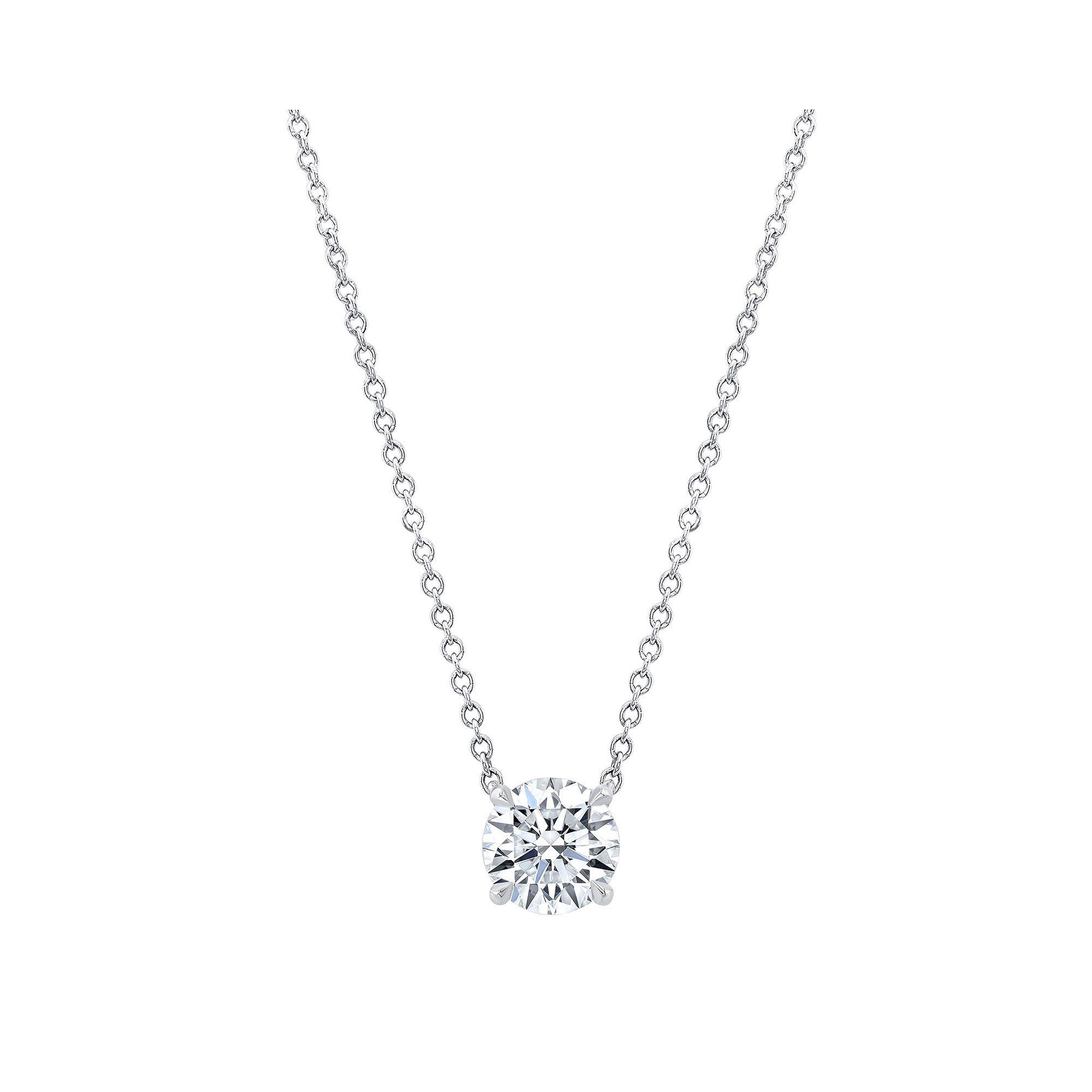 Marie Round Brilliant 1 Carat Lab Grown Diamond Necklace Pendant in White Gold