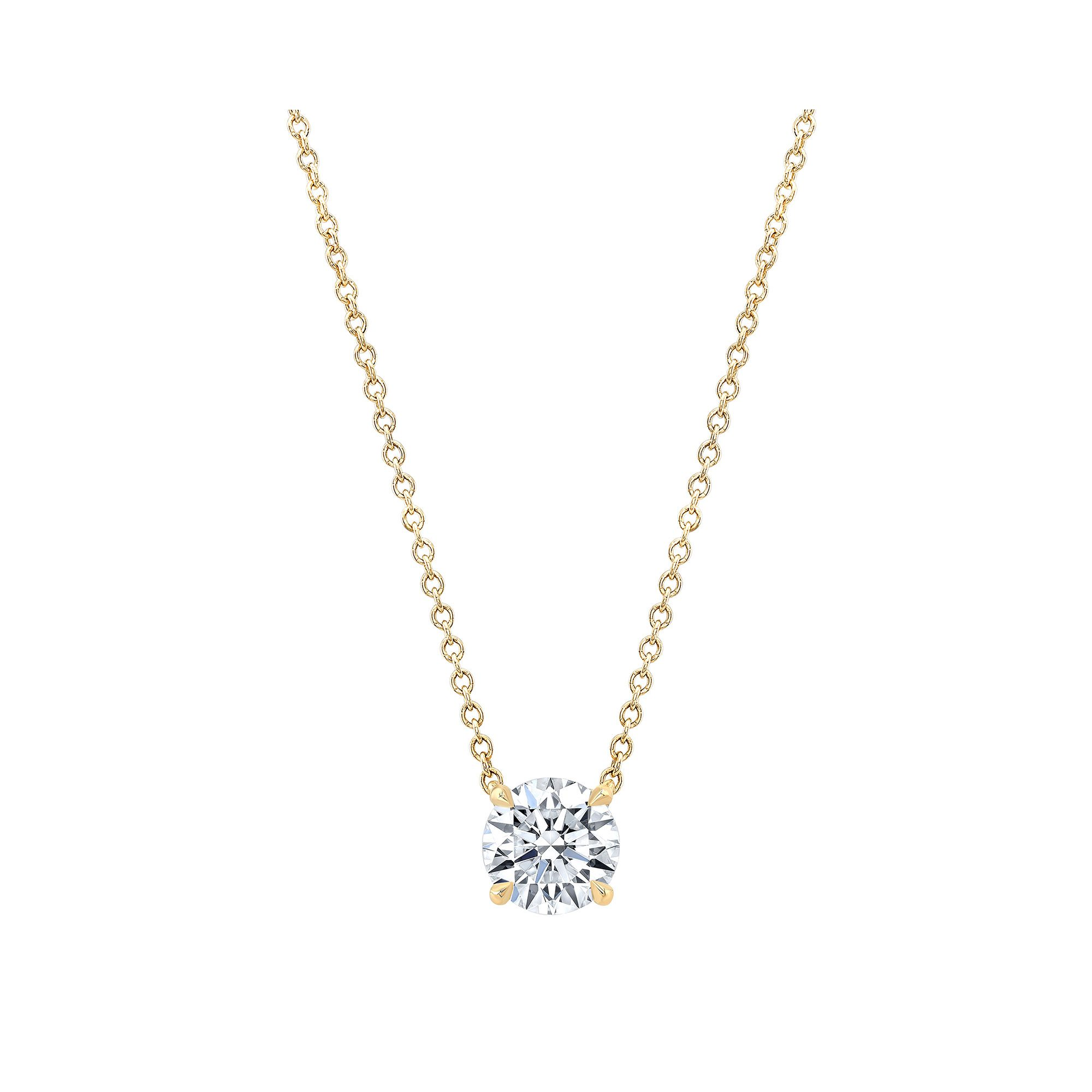 Marie Round Brilliant 1 Carat Lab Grown Diamond Necklace Pendant in Yellow Gold