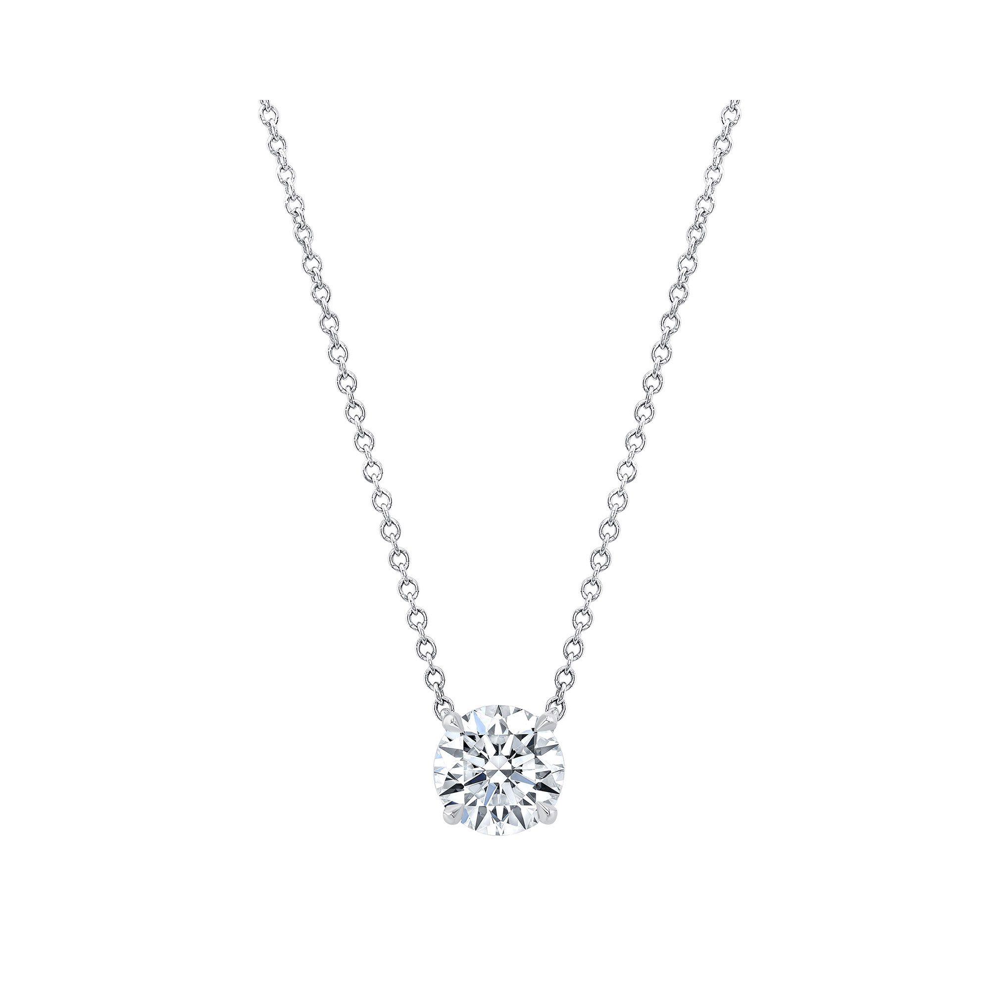 Marie Round Brilliant 1.5 Carat Lab Grown Diamond Necklace Pendant in White Gold