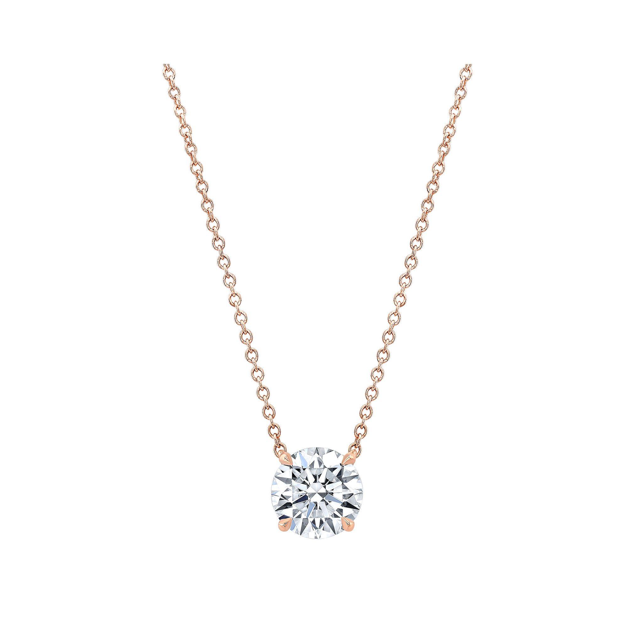 Marie Round Brilliant 2 Carat Lab Grown Diamond Necklace Pendant in Rose Gold