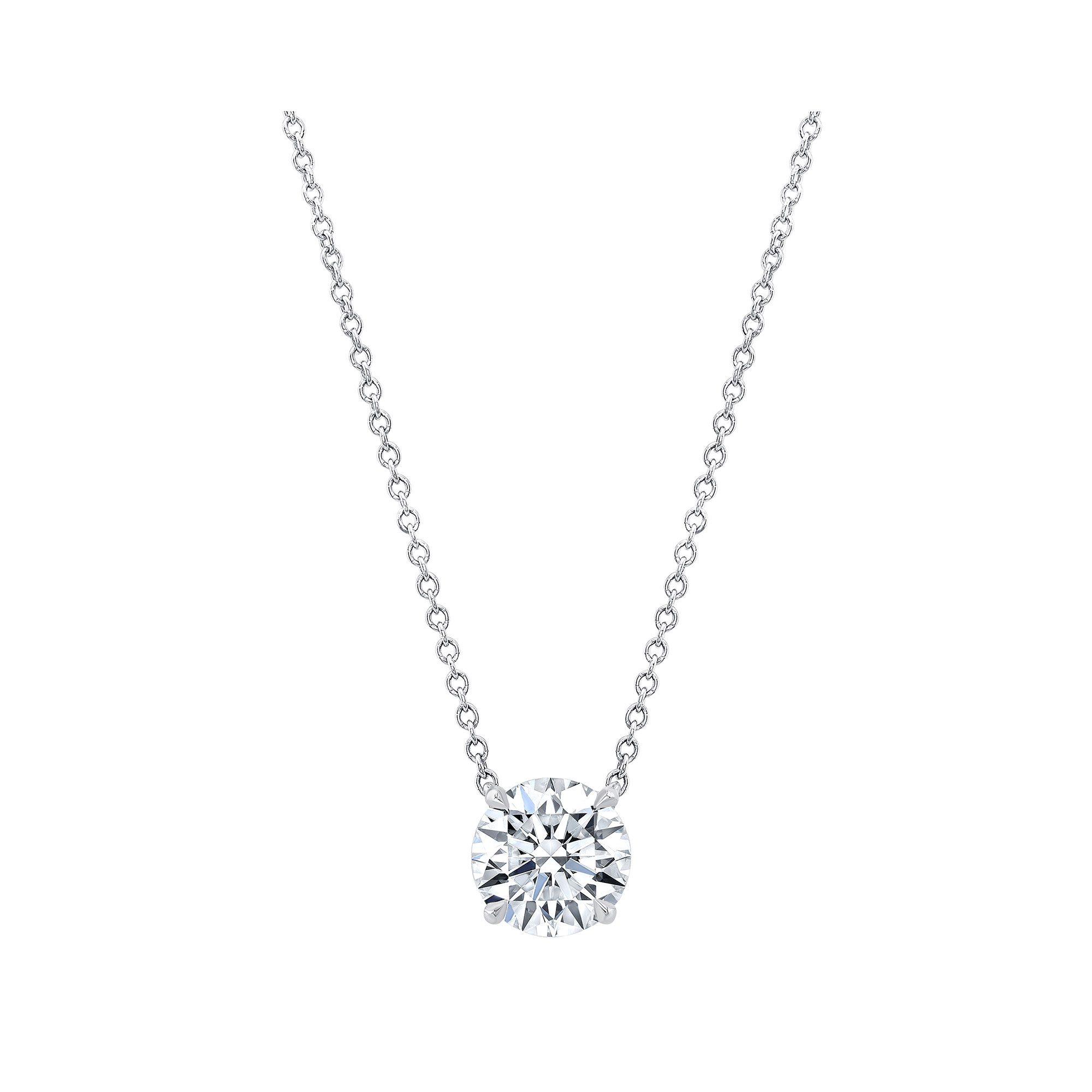Marie Round Brilliant 2 Carat Lab Grown Diamond Necklace Pendant in White Gold