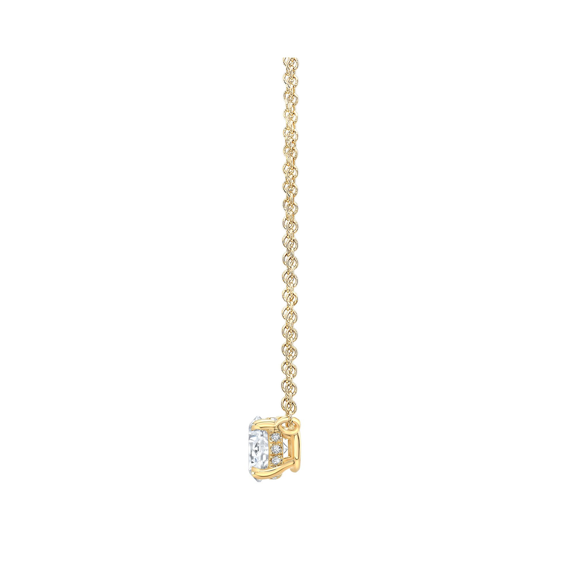 Marie Round Brilliant 1 Carat Lab Grown Diamond Necklace Side View in Yellow Gold