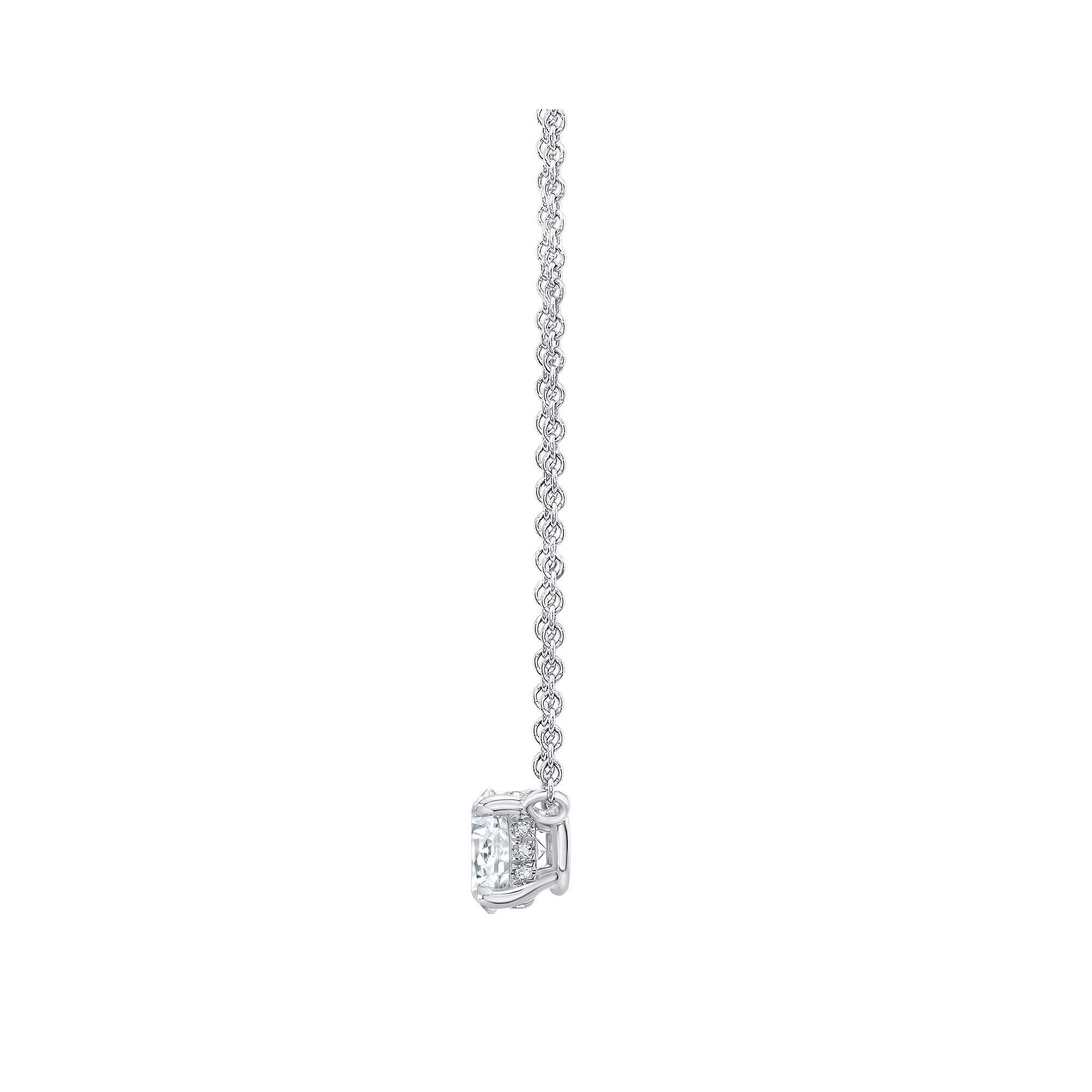 Marie Round Brilliant 1 Carat Lab Grown Diamond Necklace Side View in White Gold