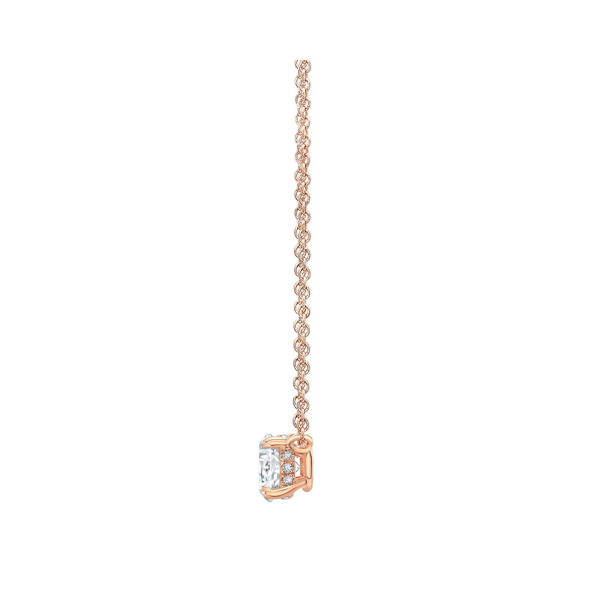 Marie Round Brilliant 2 Carat Lab Grown Diamond Necklace Side View in Rose Gold
