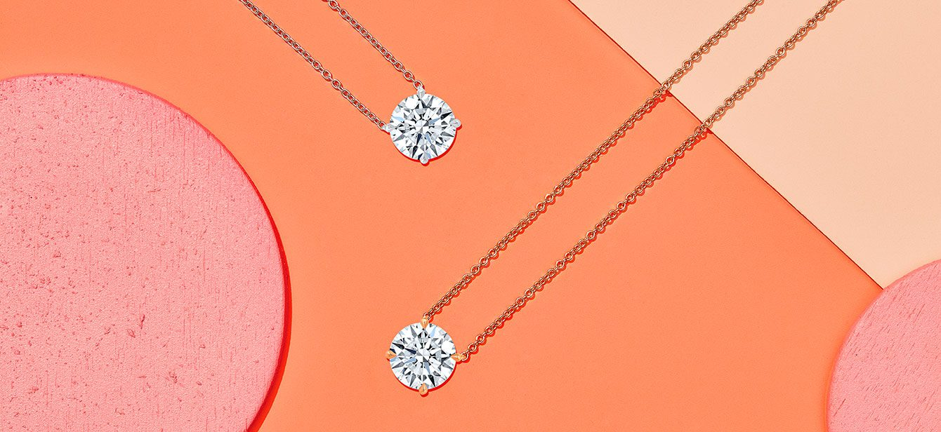Two Round Brilliant Cut Lab Grown Diamond Necklaces Product Layout