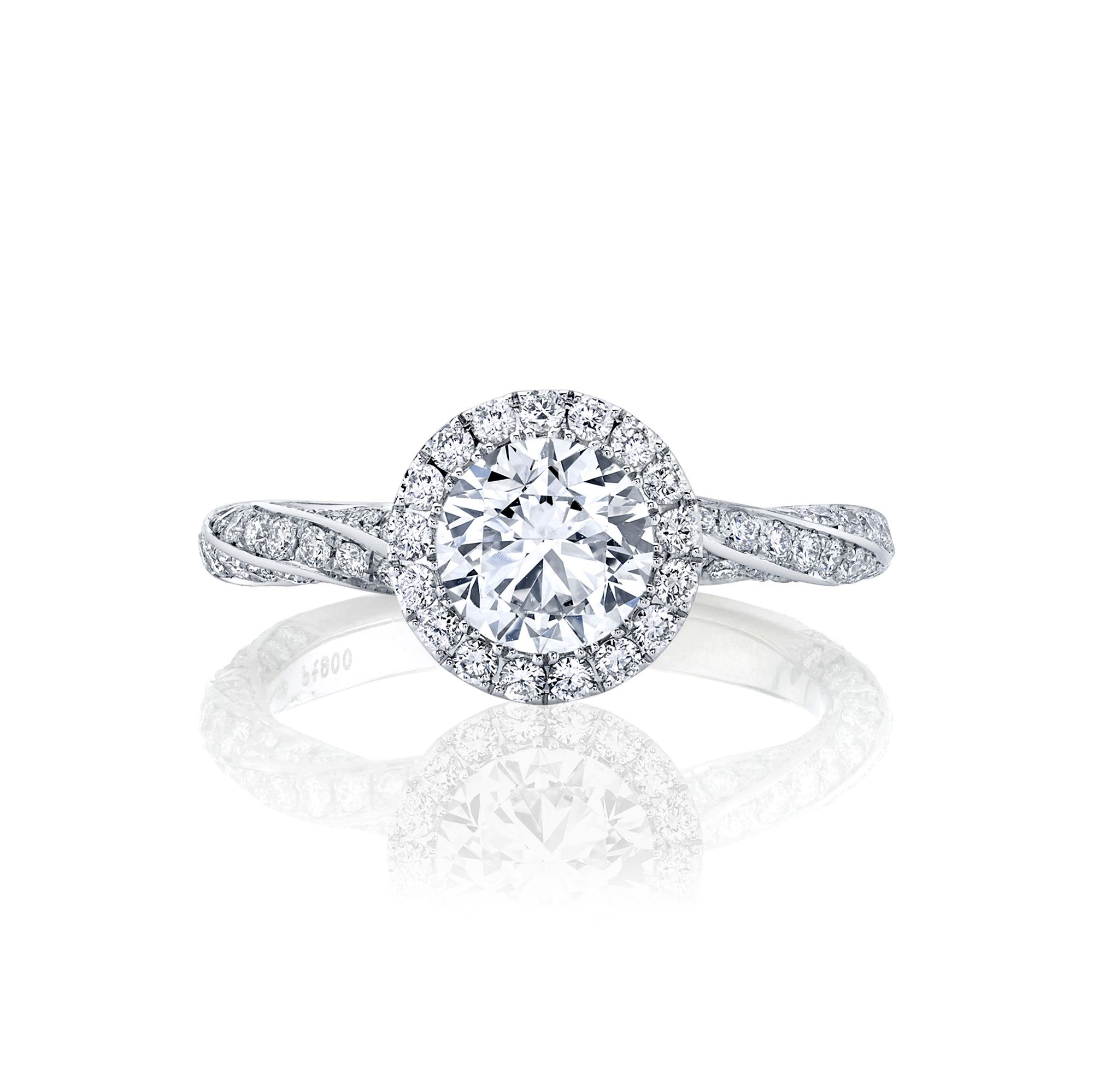 Camille Seamless Halo® Round Brilliant Engagement Ring 18k White Gold Front Shot