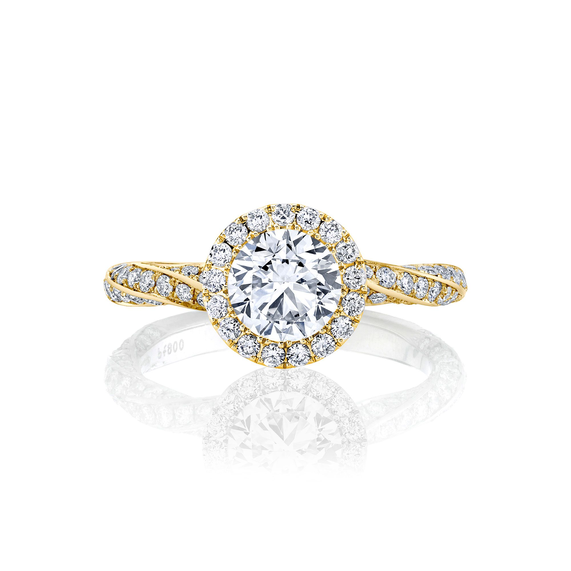 Camille Seamless Halo® Round Brilliant Engagement Ring 18k Yellow Gold Front Shot