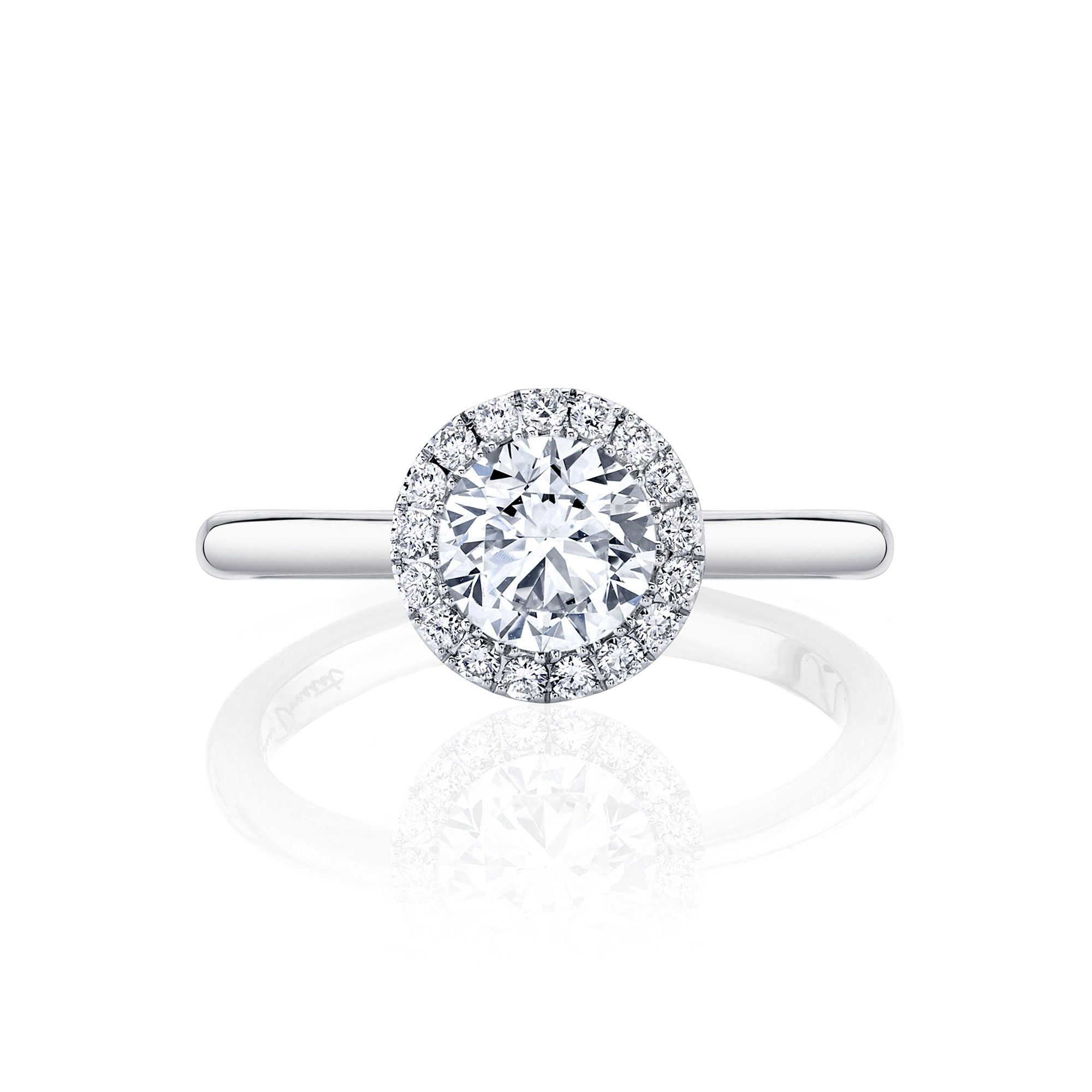 Colette Seamless Halo® Round Brilliant Engagement Ring 18k White Gold Front Shot