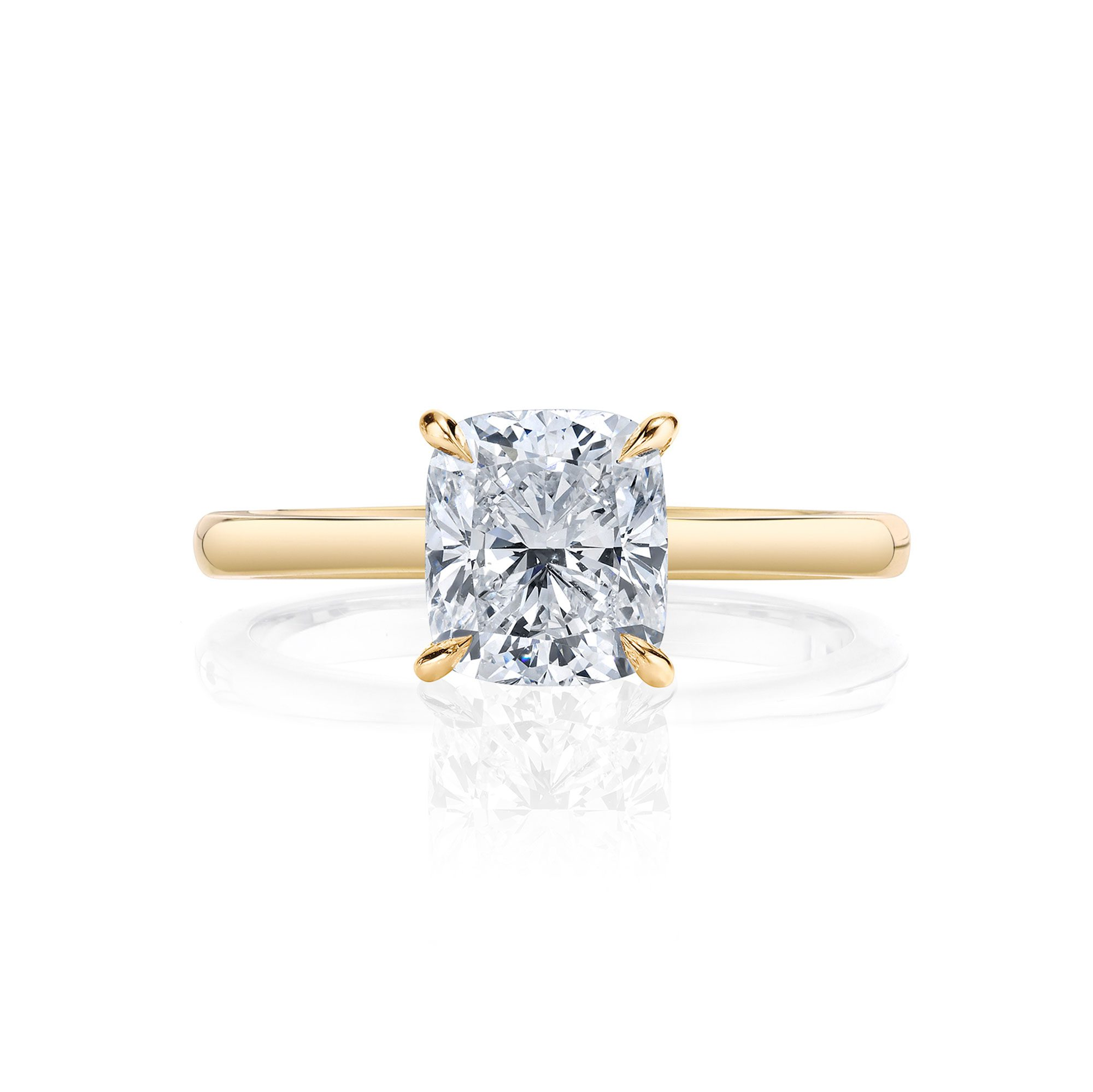 Colette Cushion Solitaire Engagement Ring with a sold band in 18k Yellow Gold Front Shot by Oui by Jean Dousset