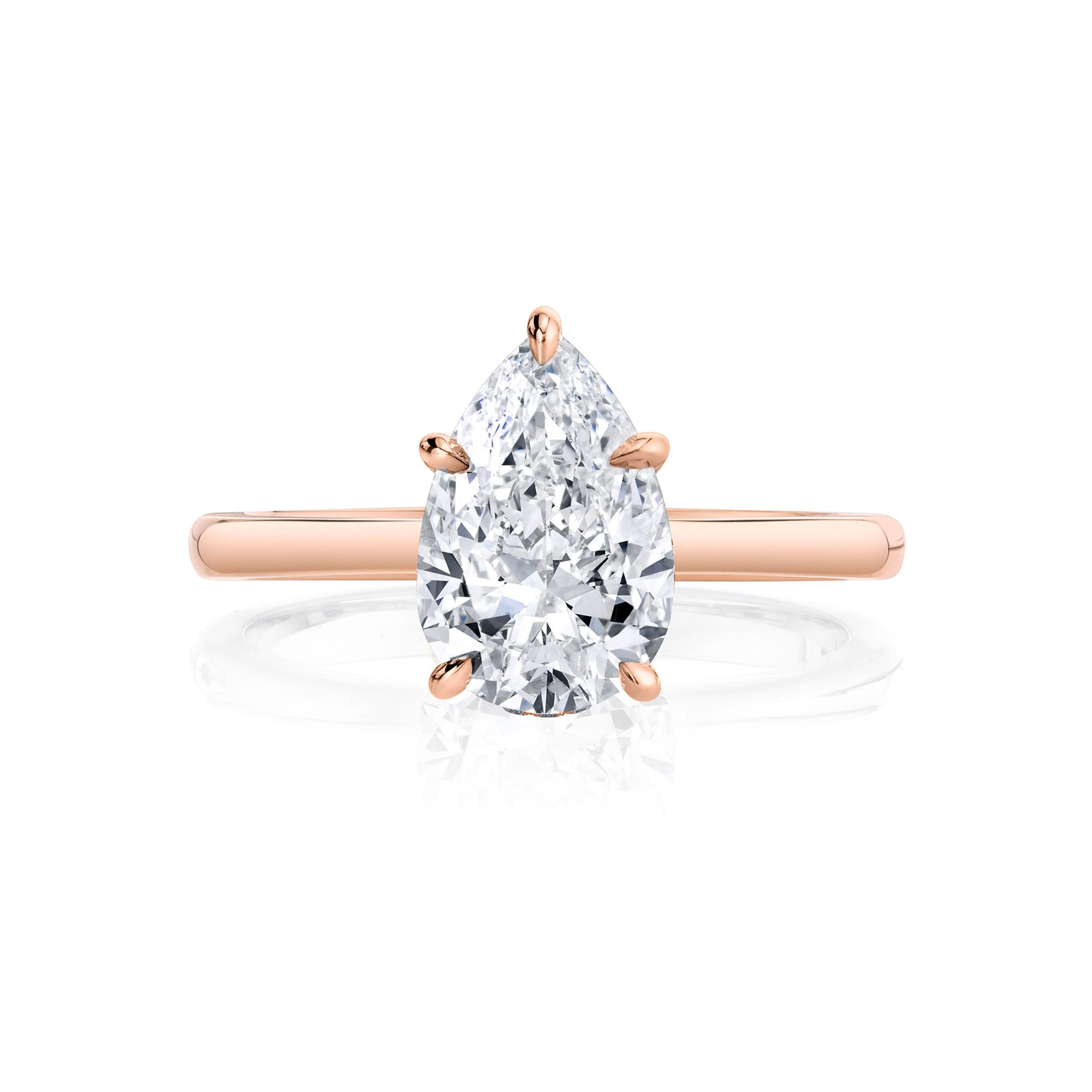 Colette Solitaire Pear Cut Lab Grown Diamond Engagement Ring in 18k Rose Gold solid band.