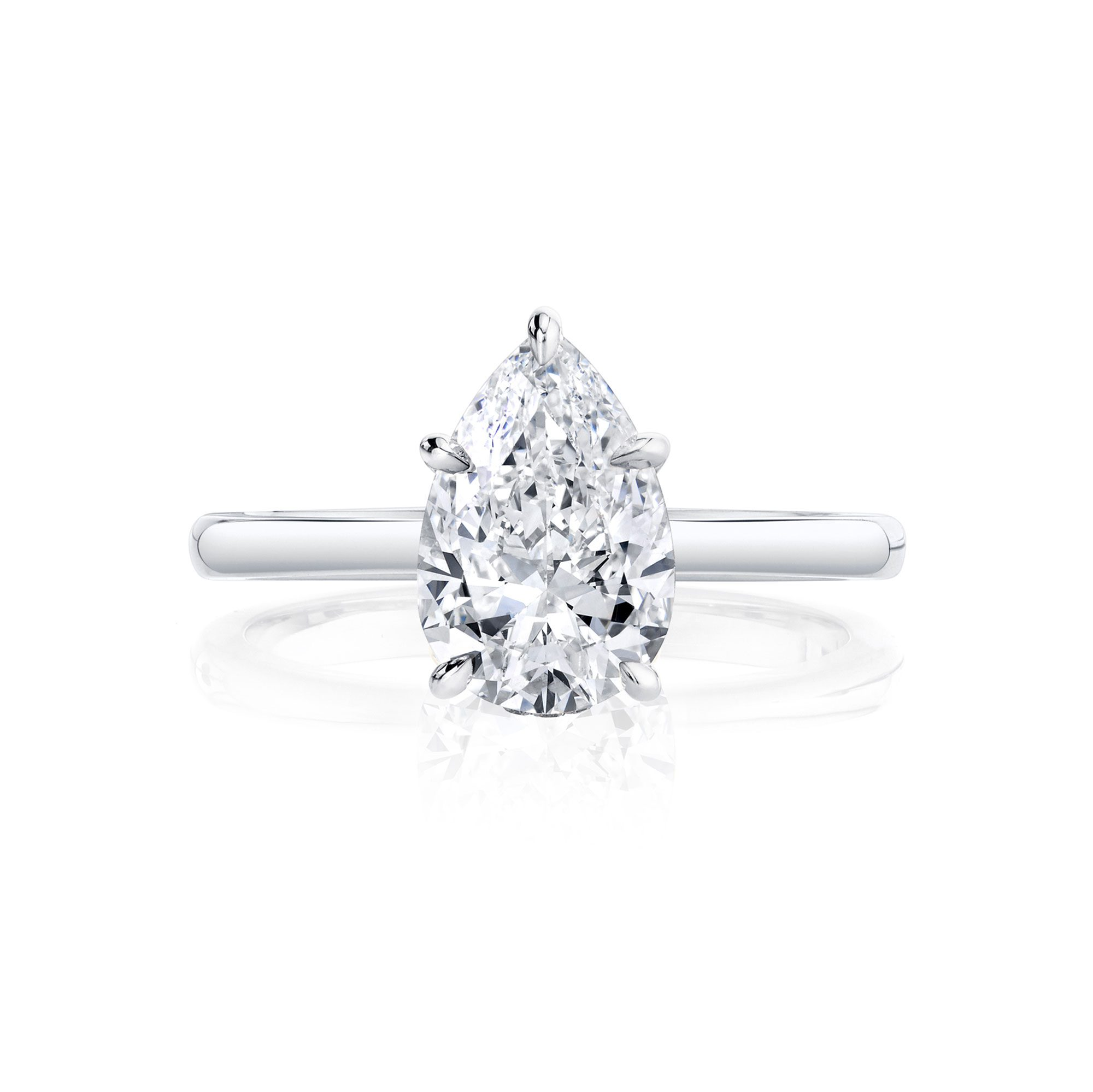Colette Solitaire Pear Cut Lab Grown Diamond Engagement Ring in 18k white gold band