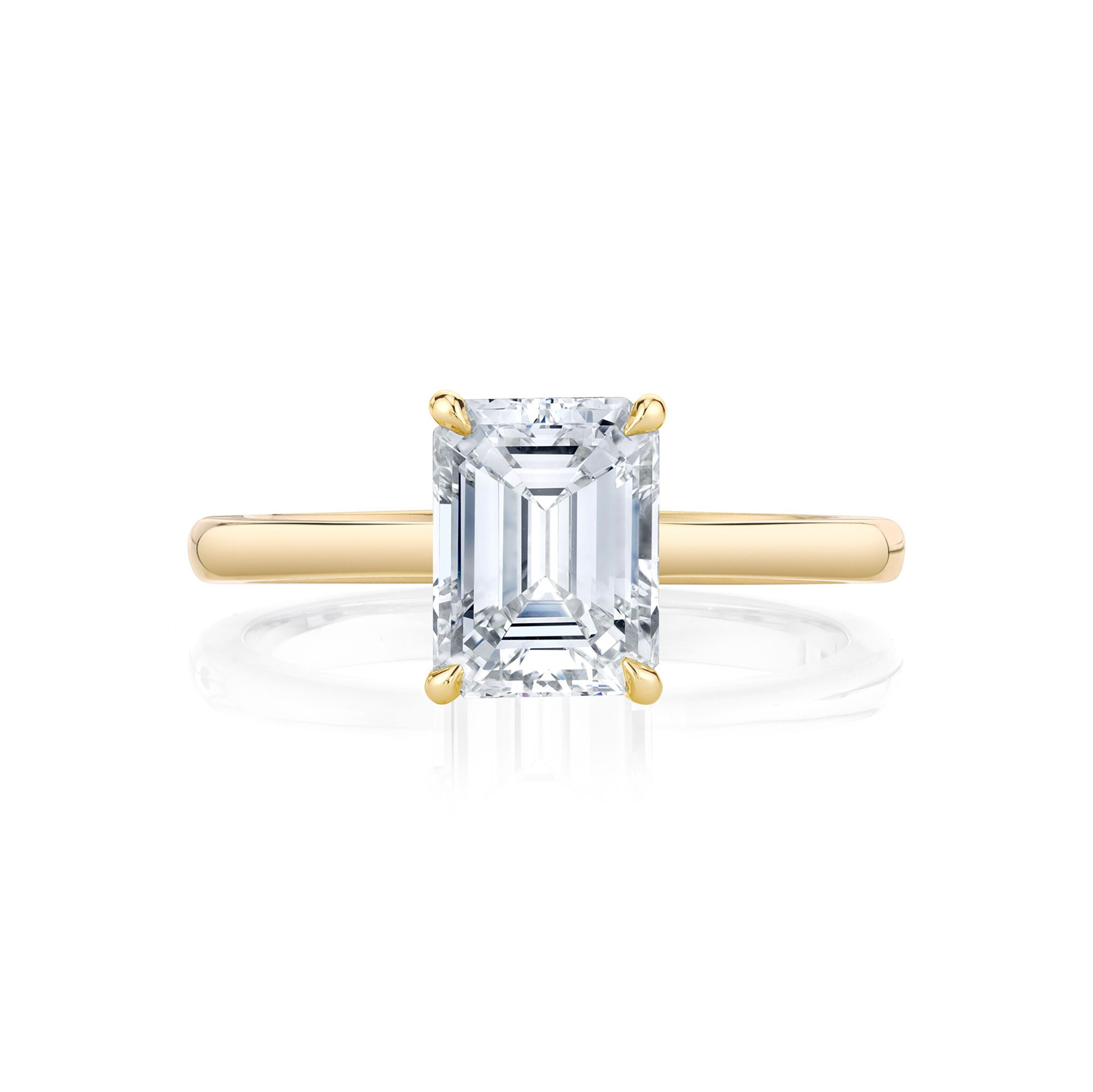 Colette Emerald Solitaire Engagement Ring with a sold band in 18k Yellow Gold Front Shot by Oui by Jean Dousset