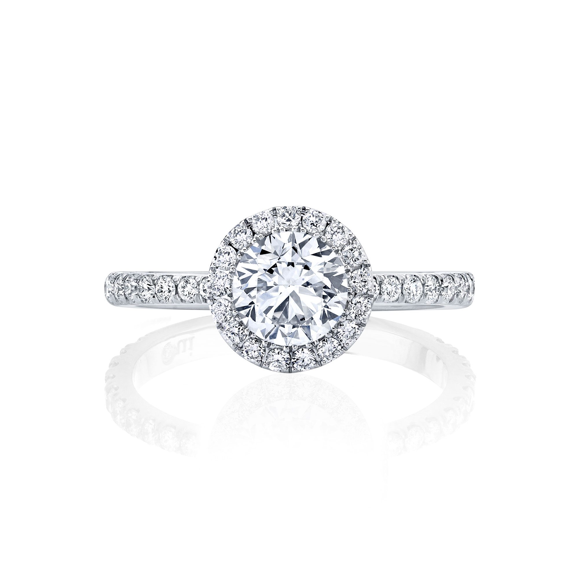 Eloise Seamless Halo® Round Brilliant Engagement Ring 18k White Gold Front Shot
