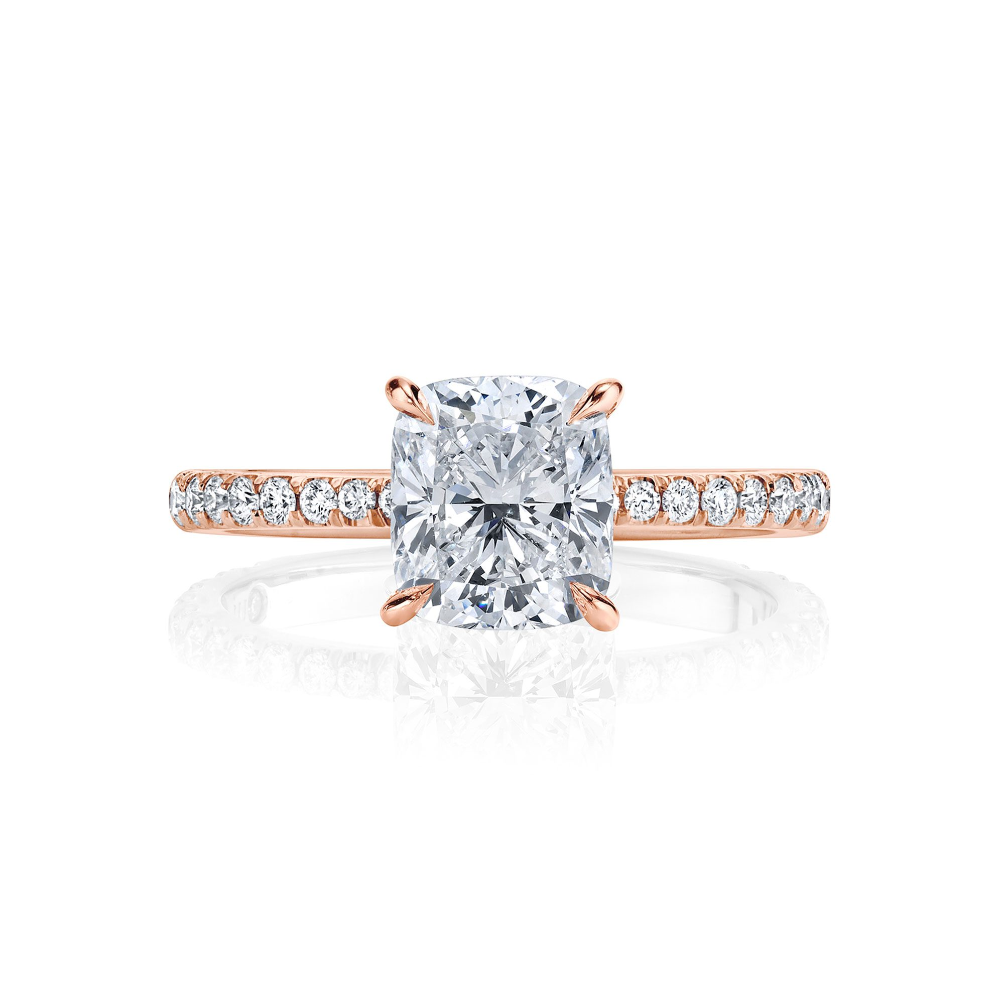 Eloise Cushion Solitaire Engagement Ring with a diamond pavé band in 18k Rose Gold Front View by Oui by Jean Dousset
