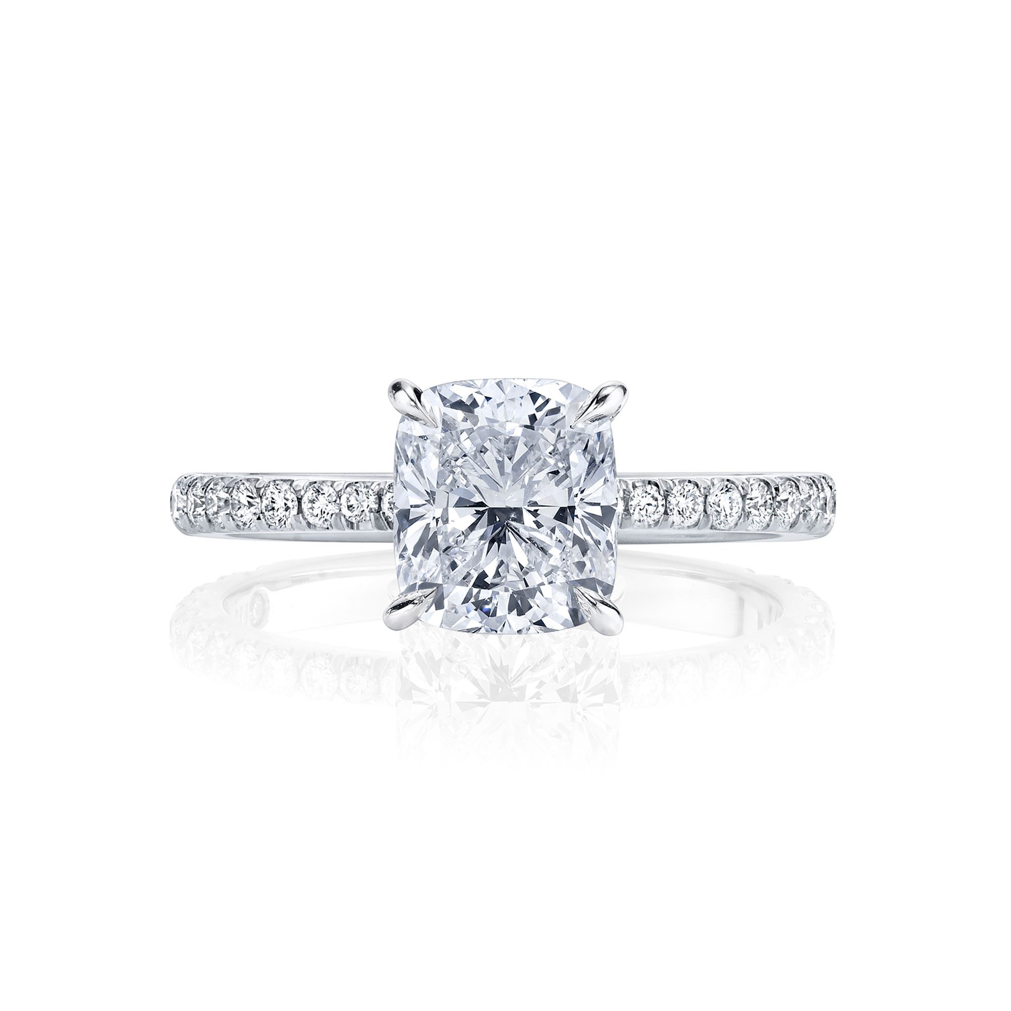 Eloise Cushion Solitaire Engagement Ring with a diamond pavé band in 18k White Gold Front View by Oui by Jean Dousset