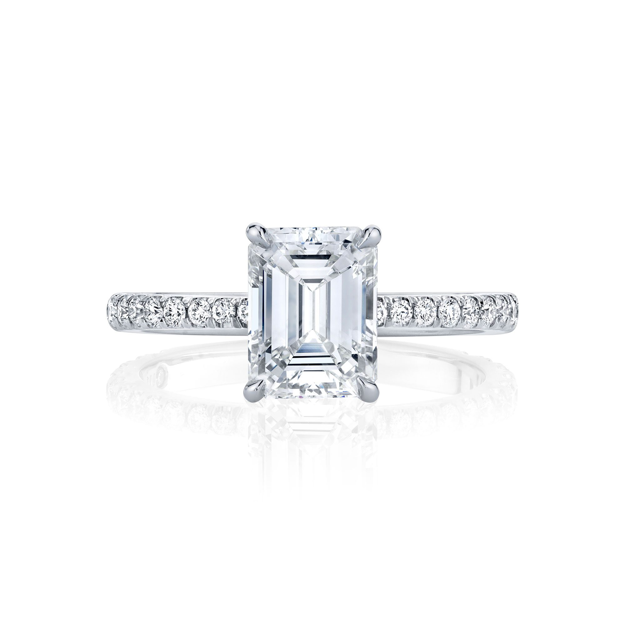Eloise Emerald Solitaire Engagement Ring with a diamond pavé band in 18k White Gold Front View by Oui by Jean Dousset