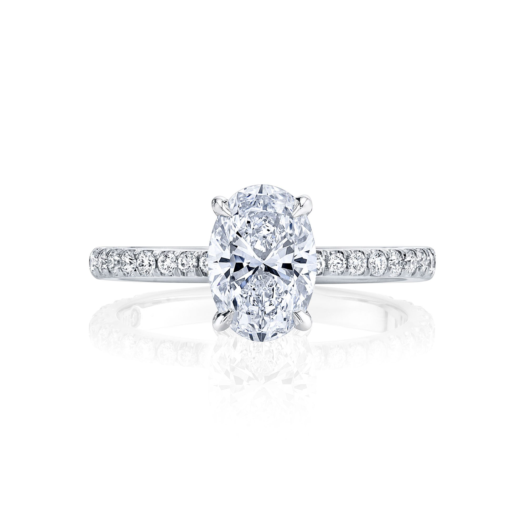 Eloise Oval Solitaire Engagement Ring with a diamond pavé band in 18k White Gold Front View by Oui by Jean Dousset