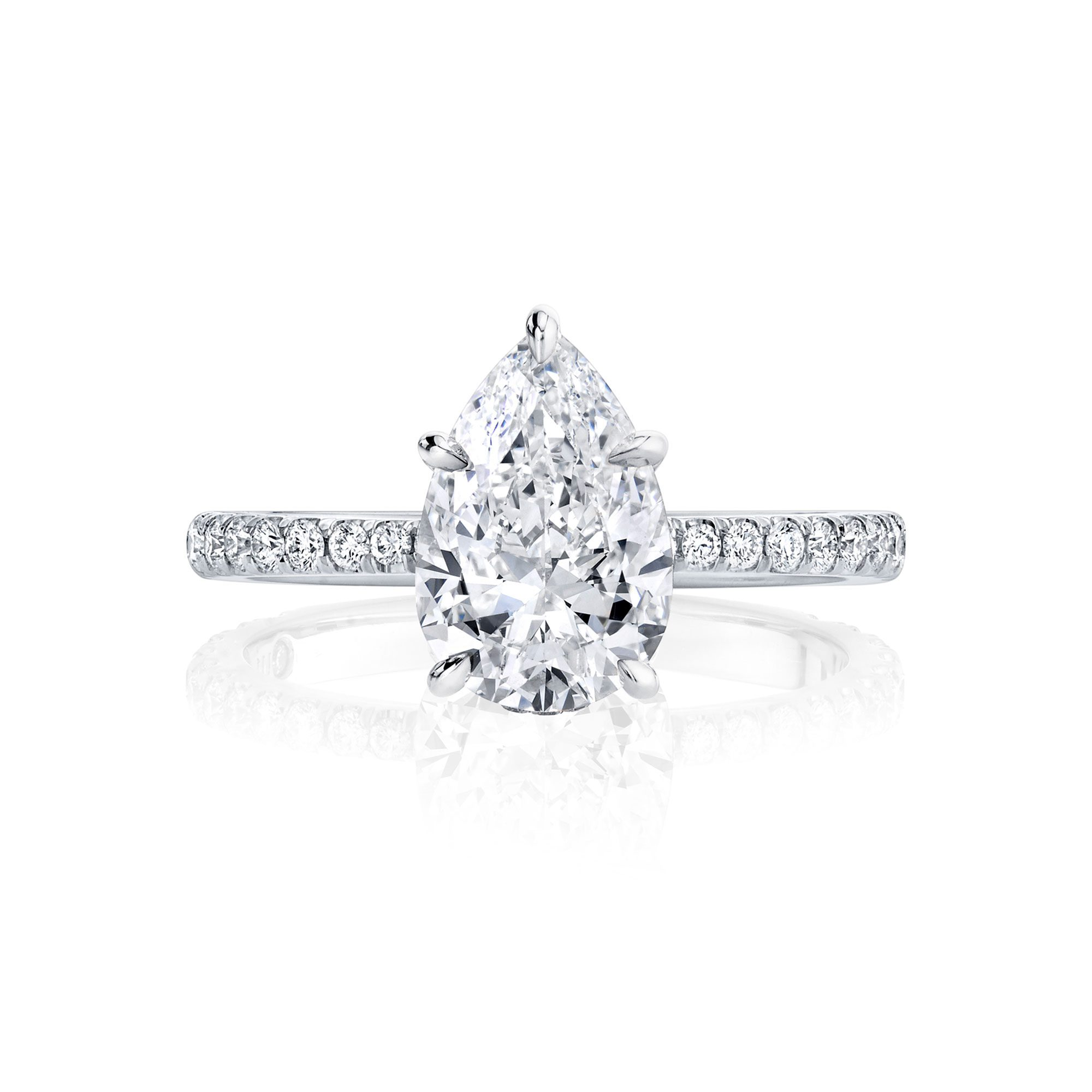 Eloise Solitaire Pear Cut Lab Grown Diamond Engagement Ring with Pavé Band in White Gold