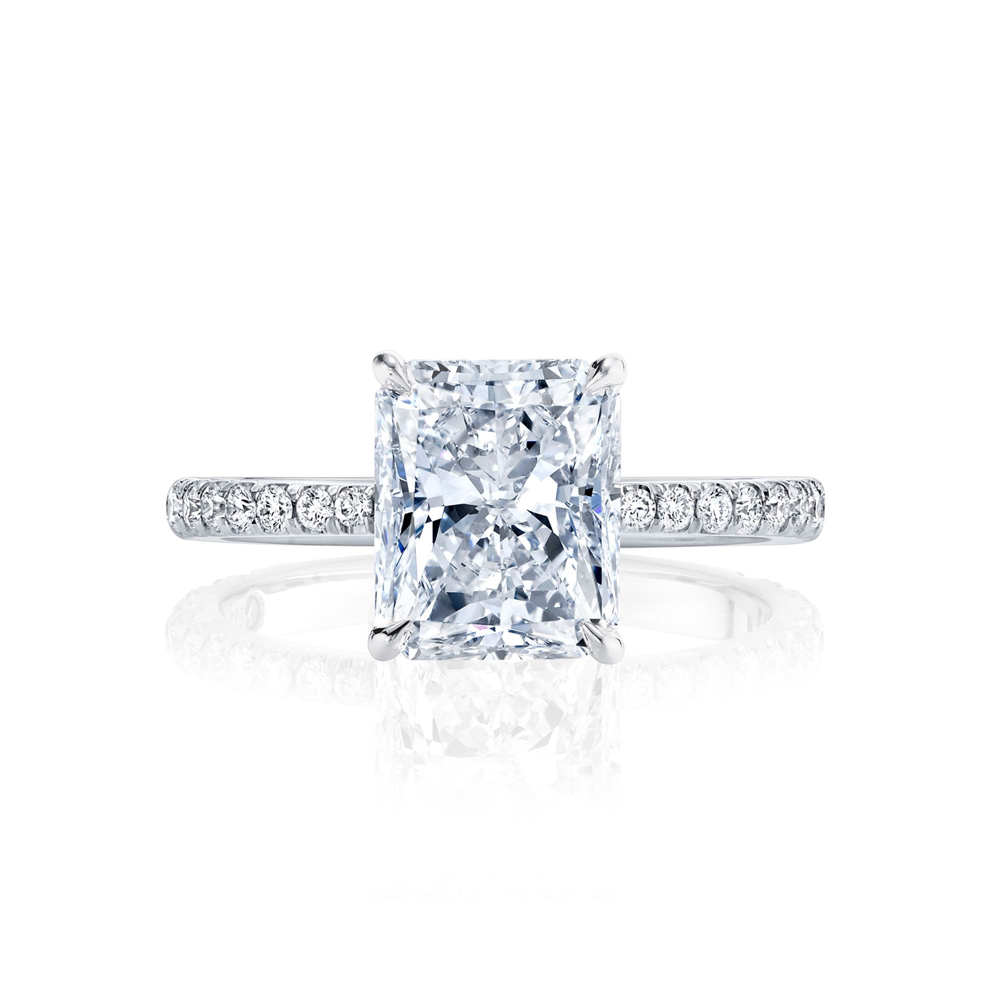 Eloise Solitaire Radiant Cut Lab Diamond Engagement Ring with Pavé Band in 18k White Gold