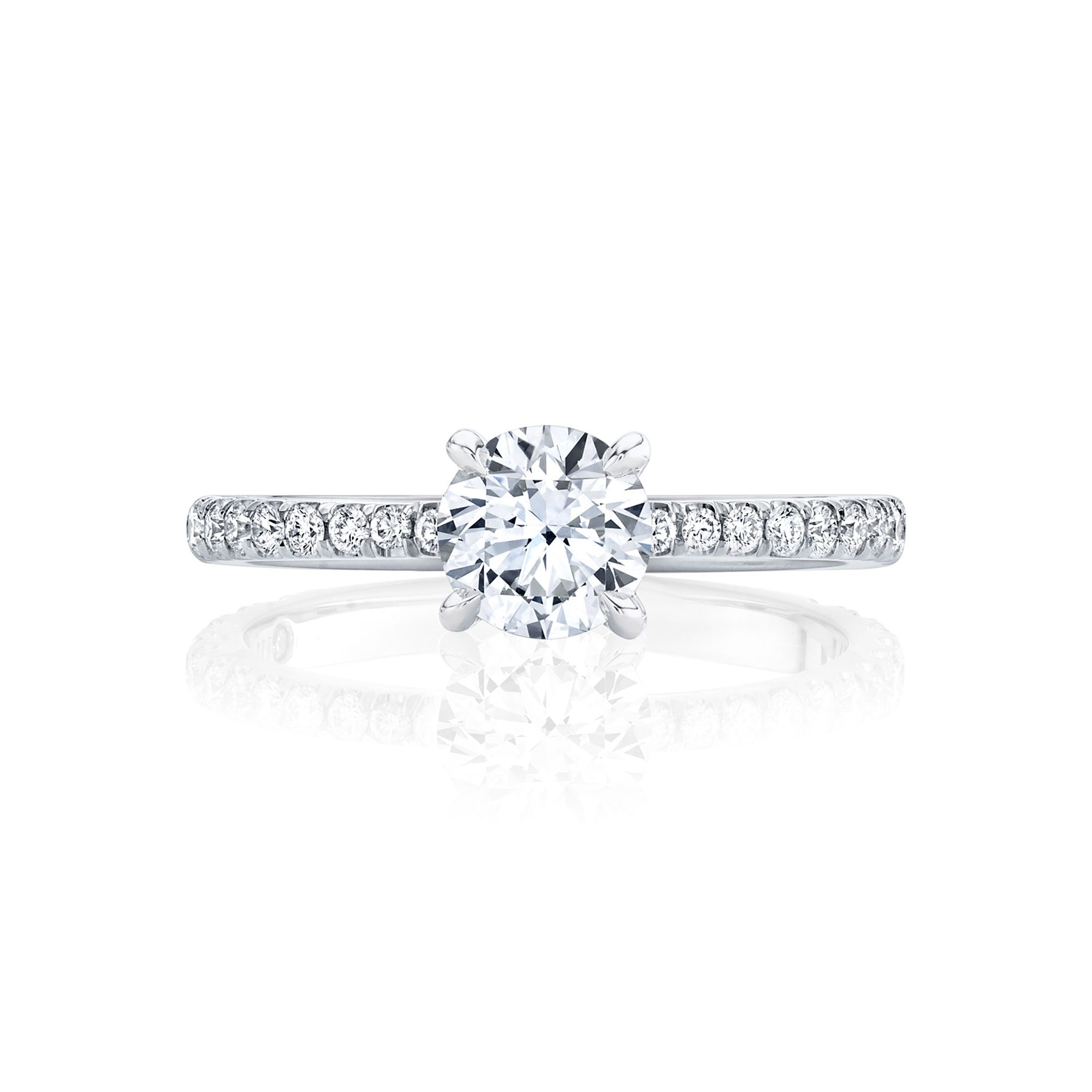 Eloise Round Brilliant Solitaire Engagement Ring with a diamond pavé band in 18k White Gold Front View by Oui by Jean Dousset