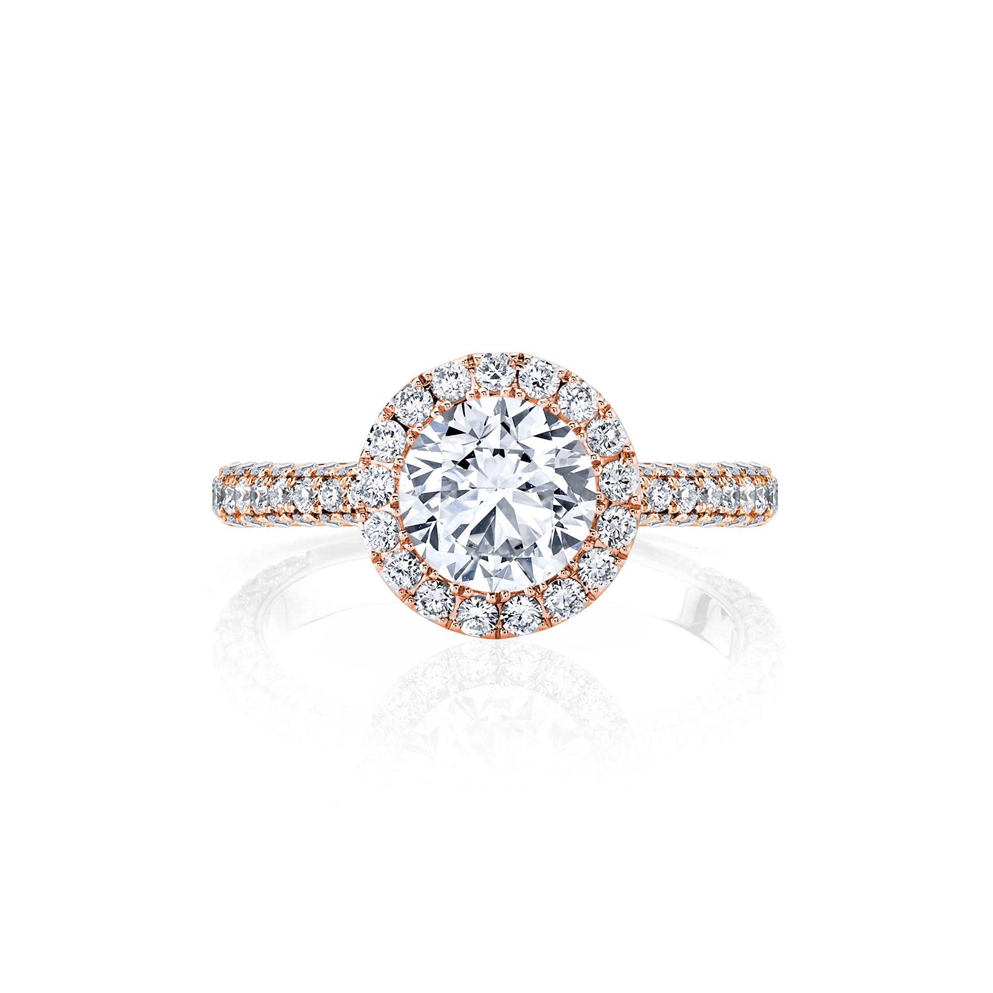 Jacqueline Seamless Halo® Round Brilliant Engagement Ring 18k Rose Gold Front Shot
