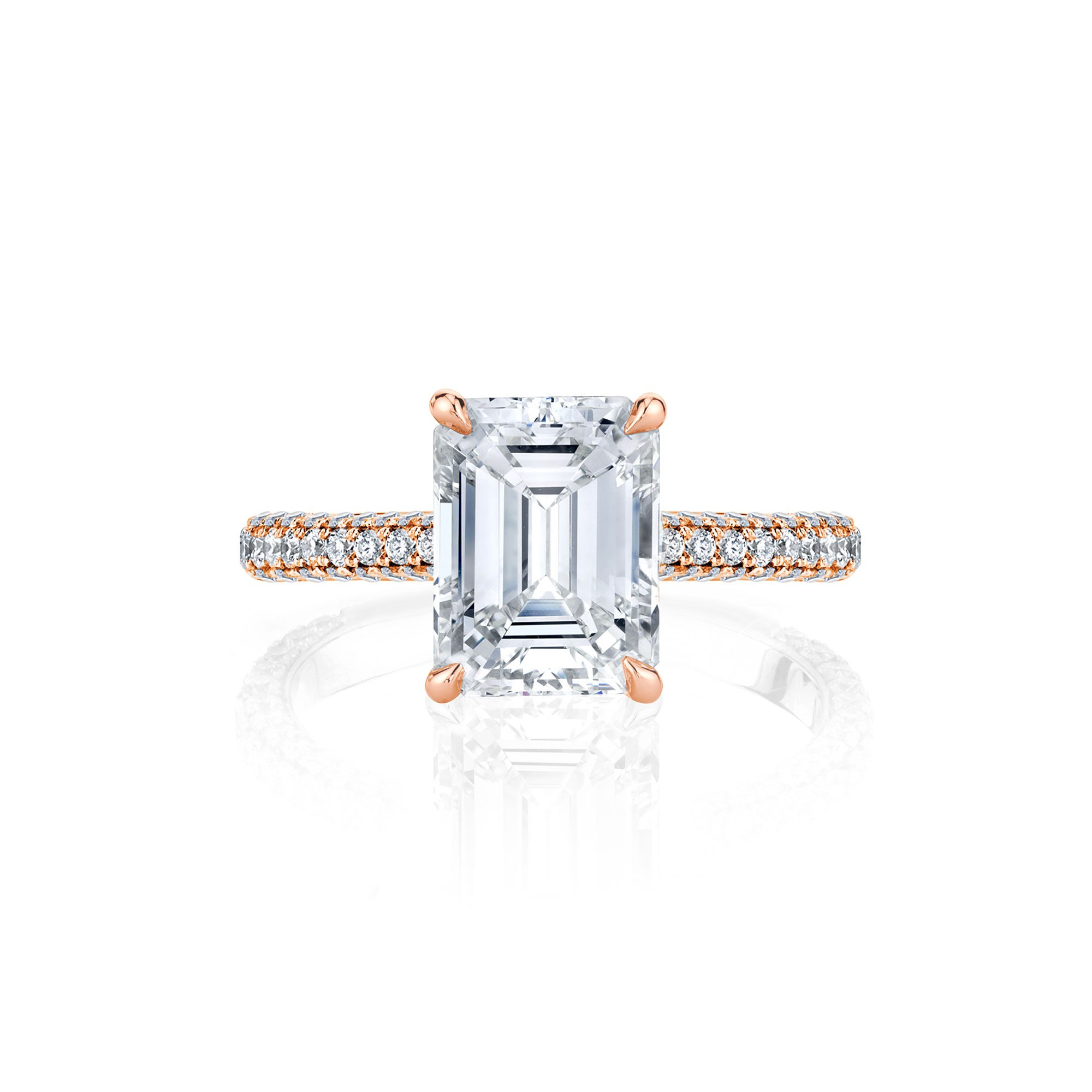 Jacqueline Emerald Cut Diamond Solitaire Engagement Ring and Pavé Band in Rose Gold
