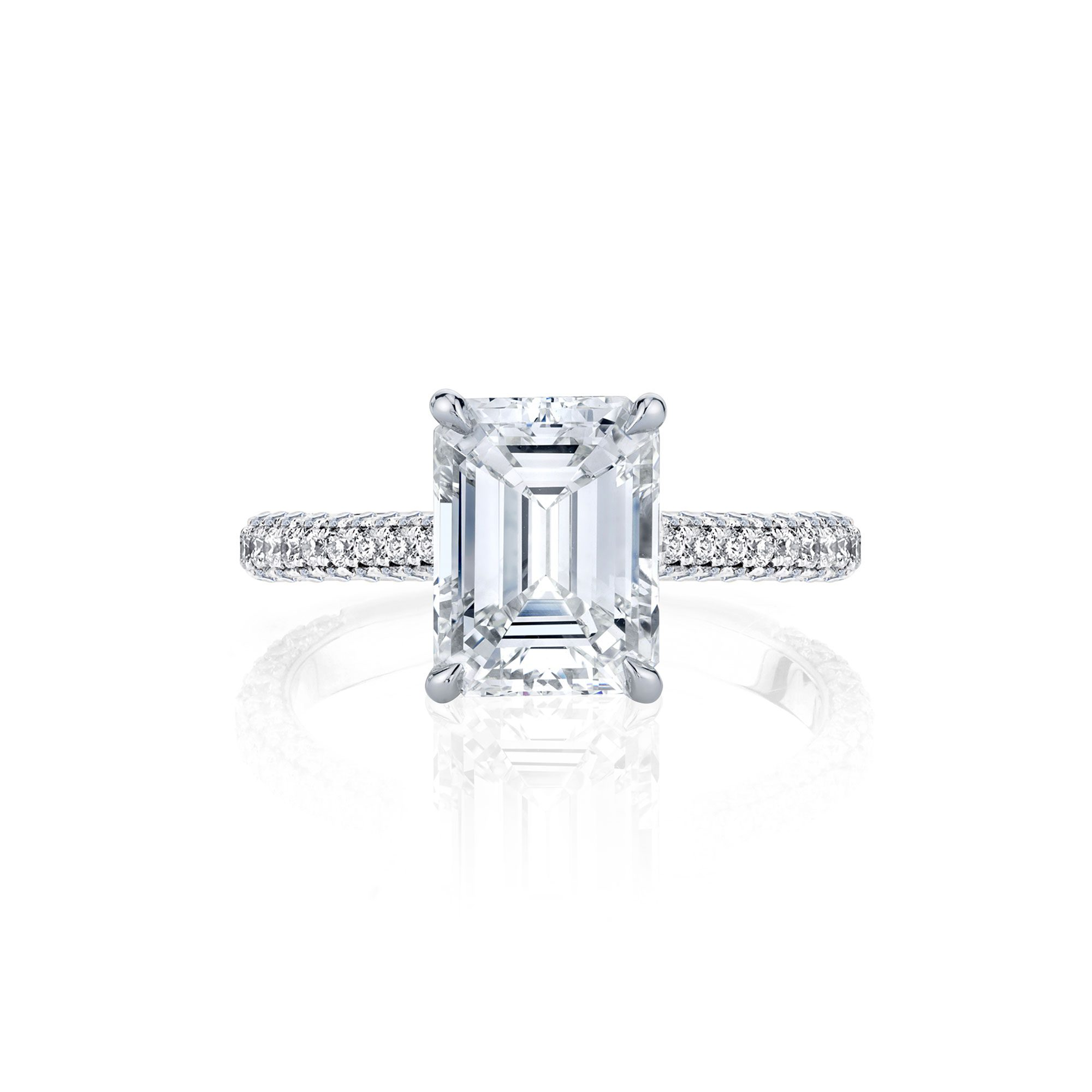 Jacqueline Emerald Cut Lab Grown Diamond Solitaire Engagement Ring Pavé White Gold Band from Oui