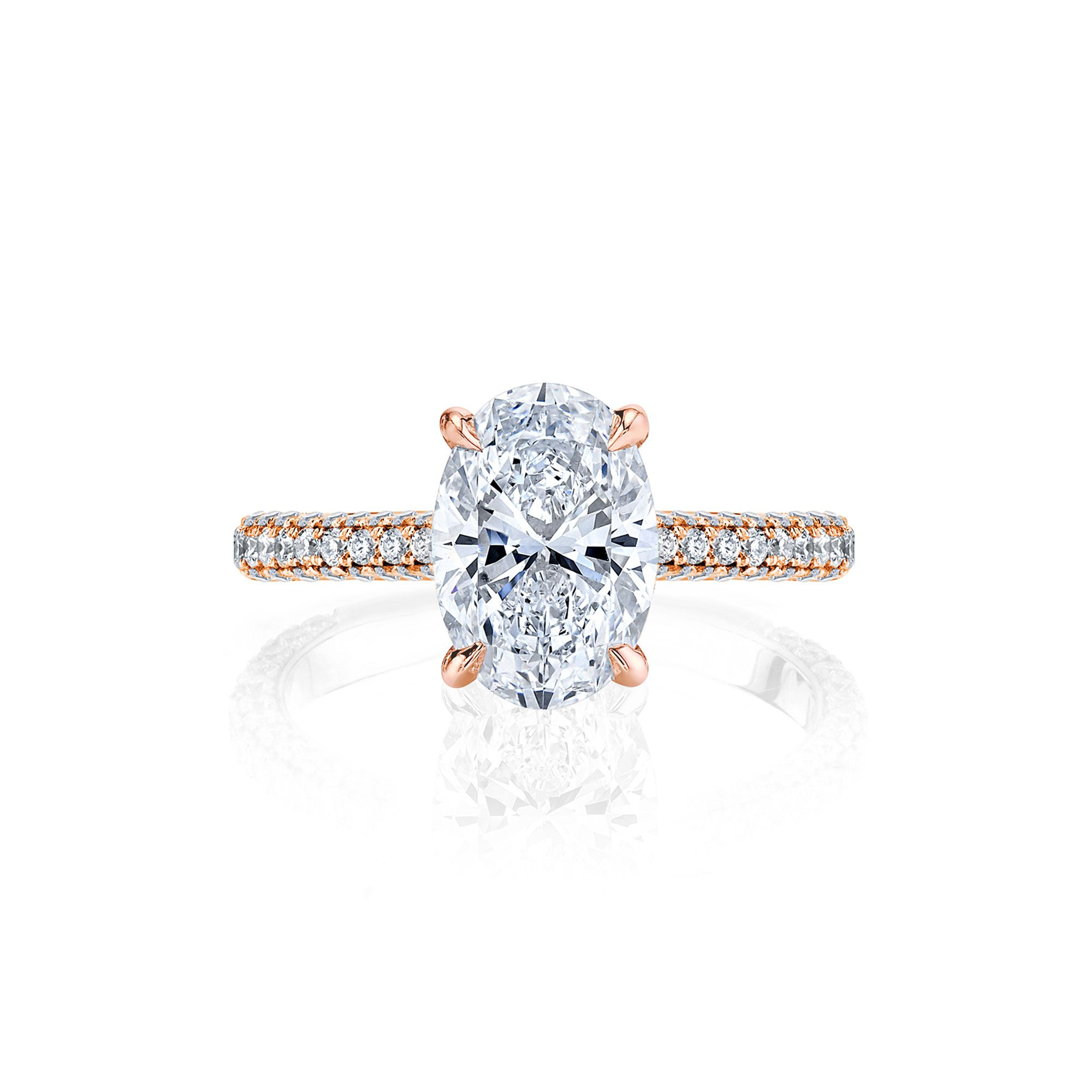 Jacqueline Solitaire Oval Cut Lab Diamond Engagement Ring with three row pavé 18k rose gold band
