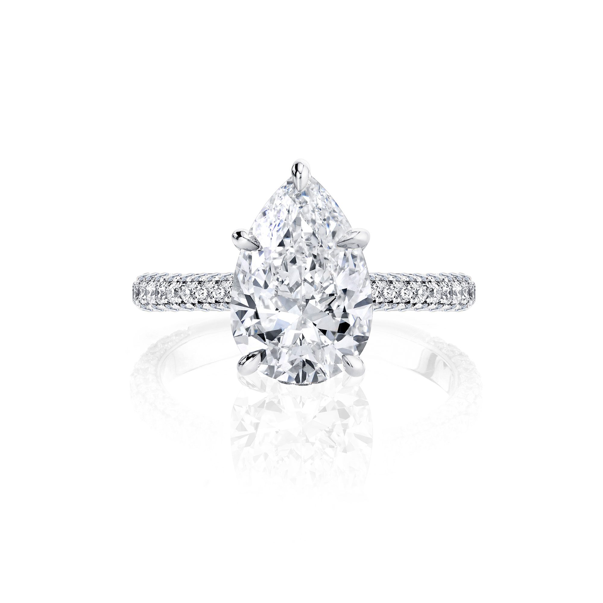 Jacqueline Pear Cut Diamond Solitaire Engagement Ring and Pavé Band in White Gold from Oui by Jean Dousset