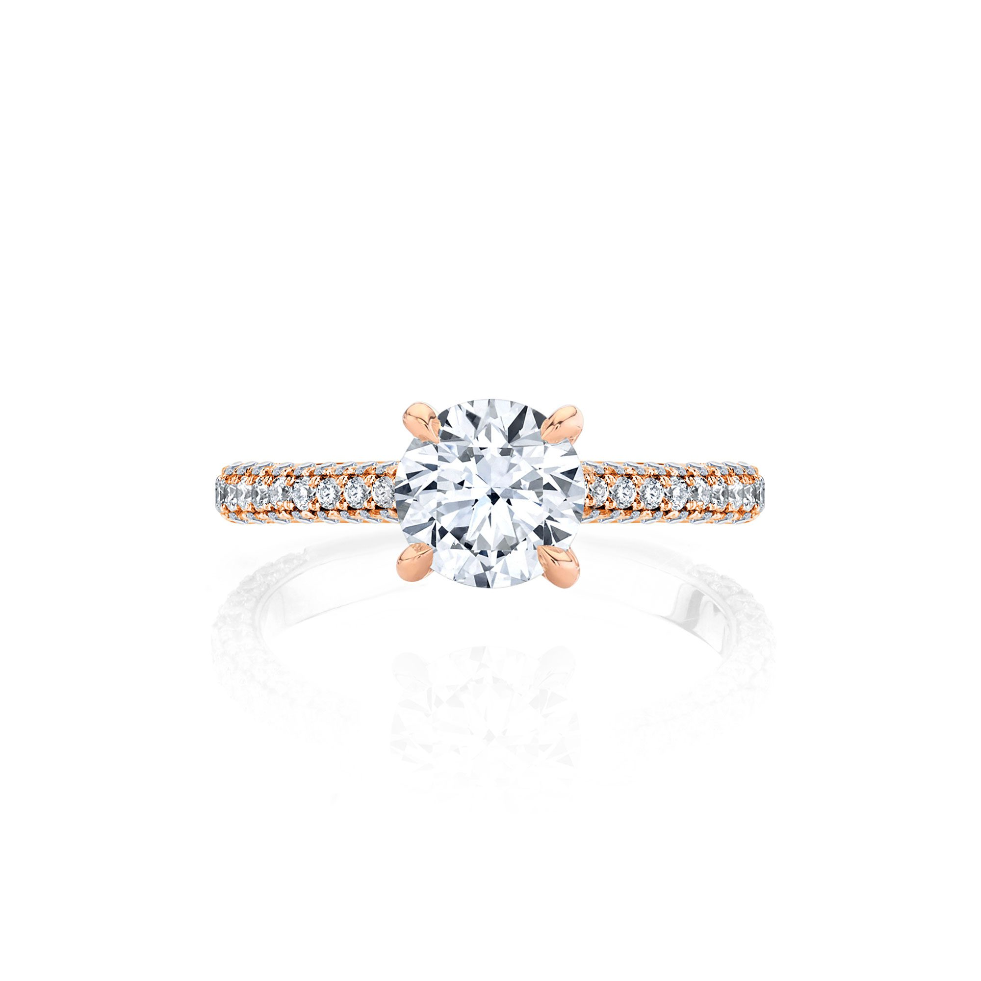 Jacqueline Solitaire Round Brilliant Cut Lab Diamond Engagement Ring with pavé 18k rose gold band.