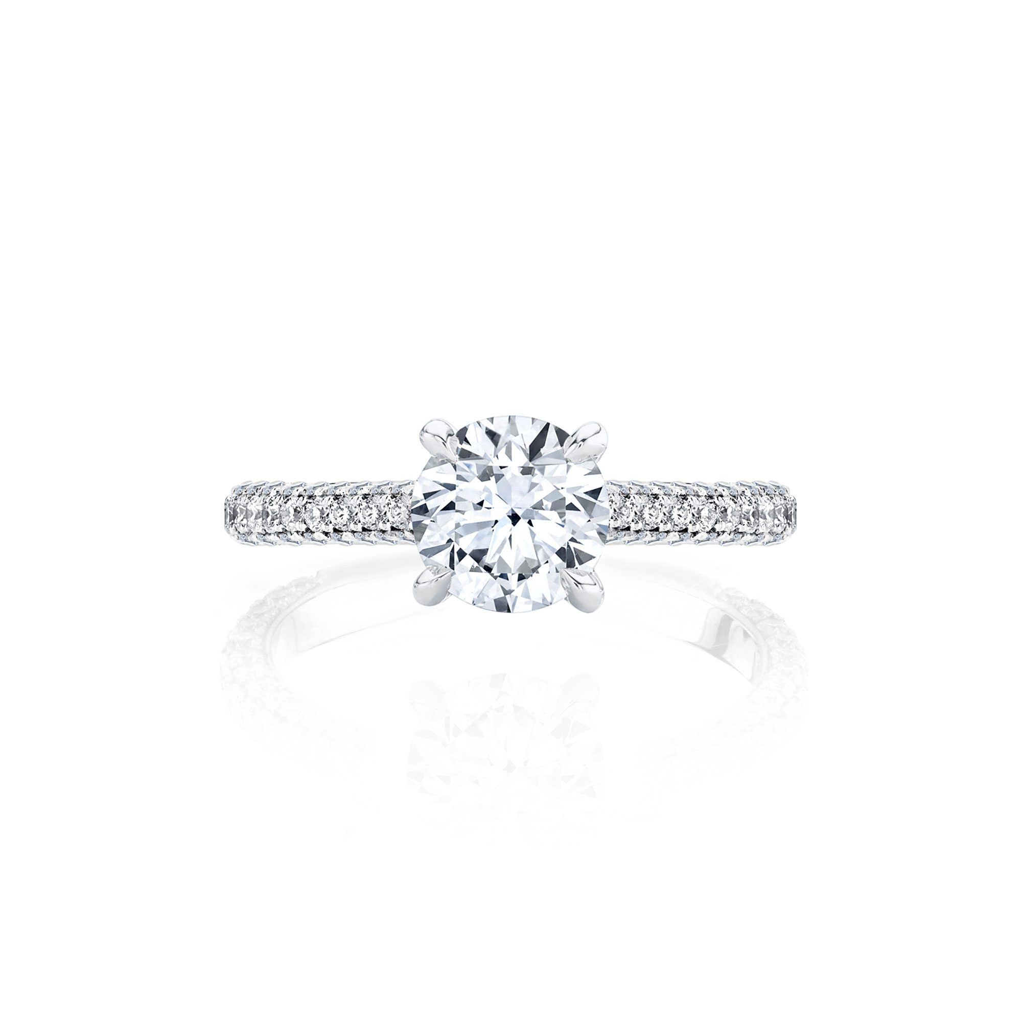 Jacqueline Solitaire Round Brilliant Cut Lab Diamond Engagement Ring with three row pavé 18k white gold band.