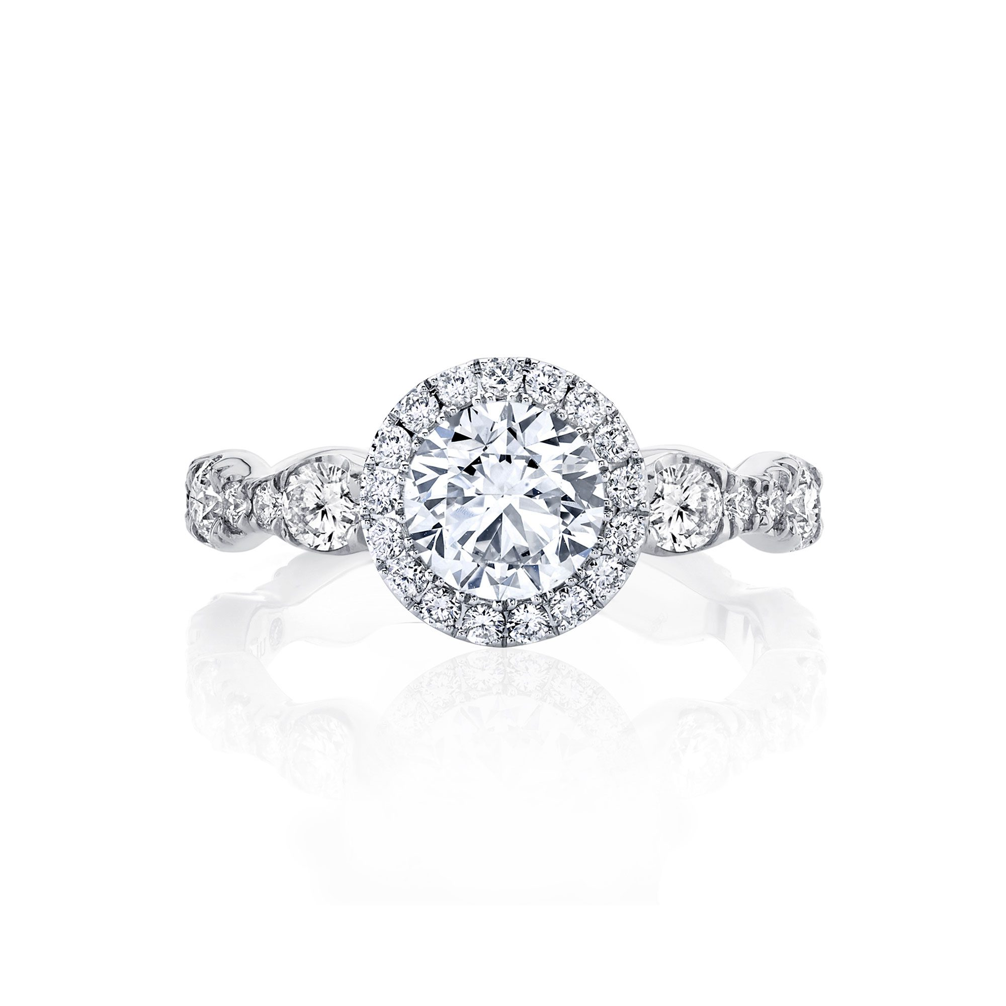 Yvonne Seamless Halo® Round Brilliant Engagement Ring 18k White Gold Front Shot
