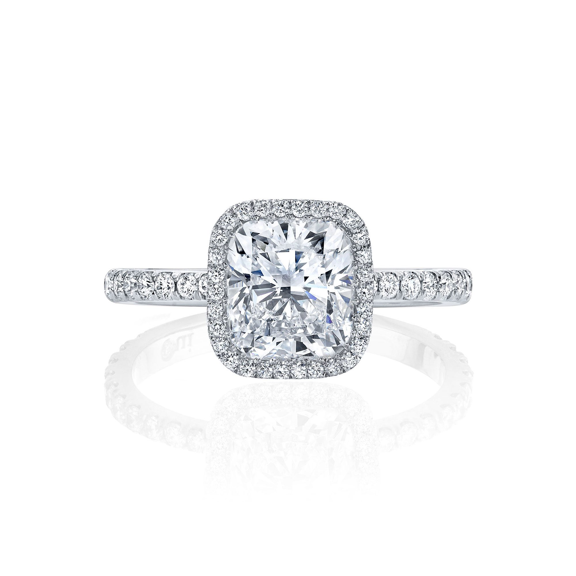 Eloise Seamless Halo® Engagement Ring Cushion Cut Ring with 18k white gold pavé band